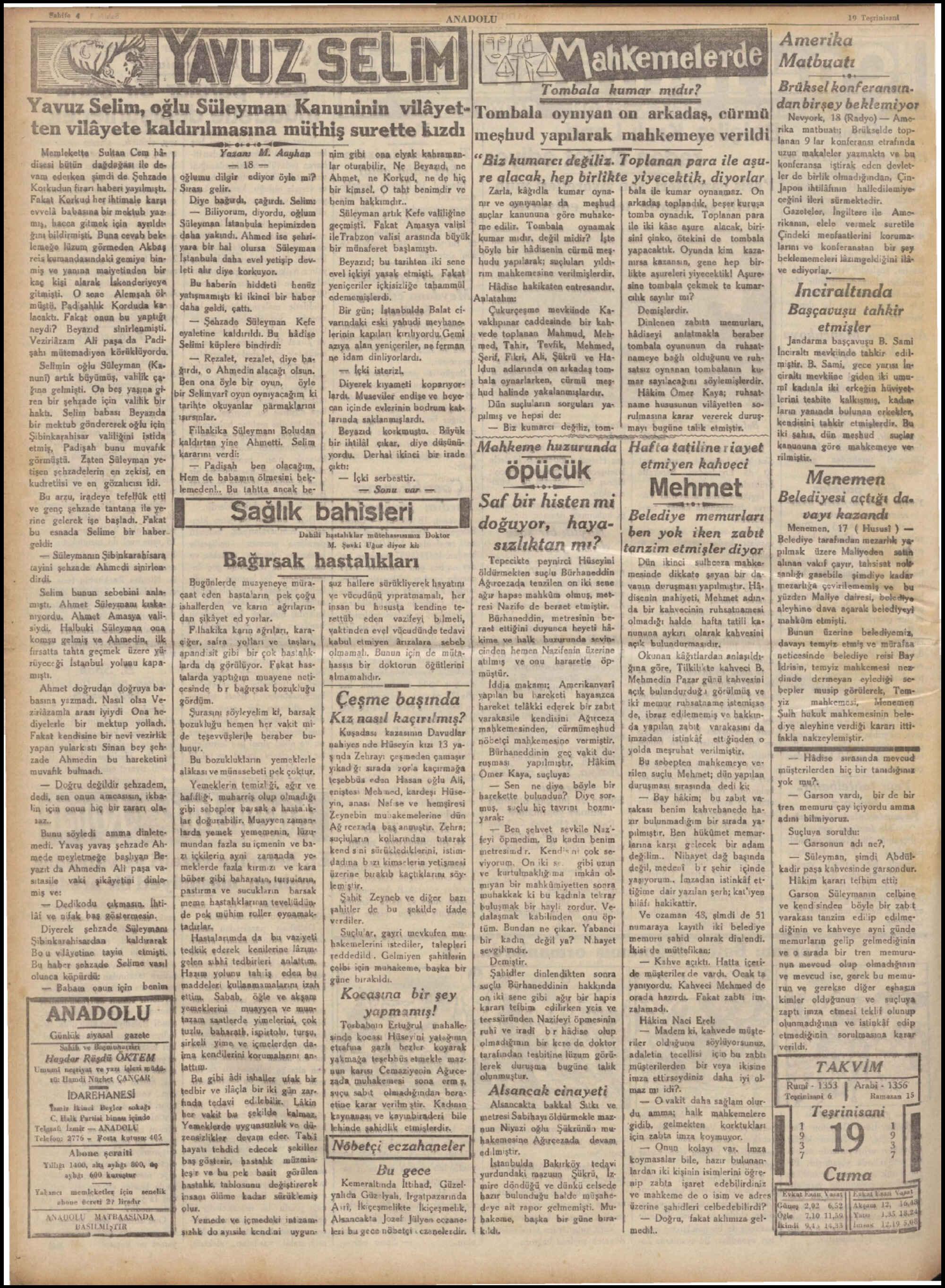 19 Kasım 1937 Tarihli Anadolu Dergisi Sayfa 4