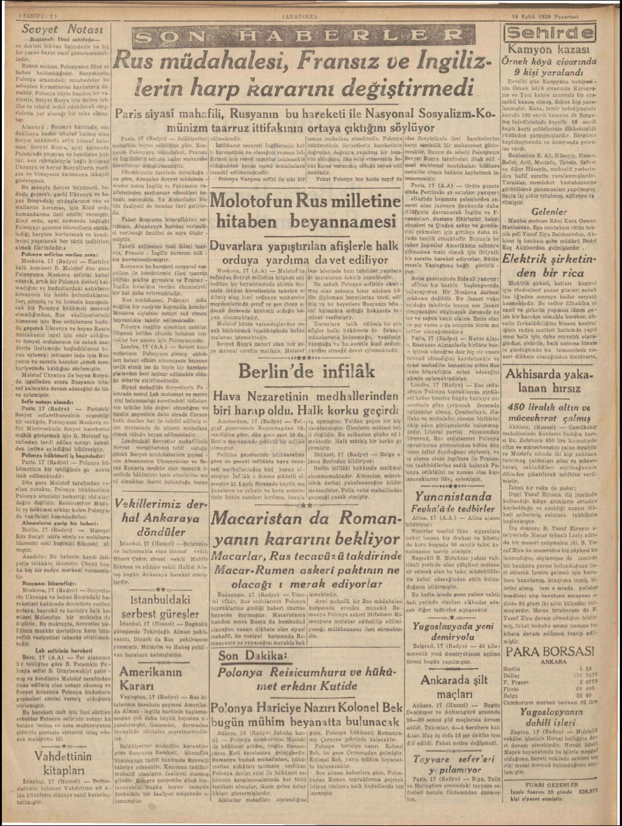 18 Eylül 1939 Tarihli Anadolu Dergisi Sayfa 2