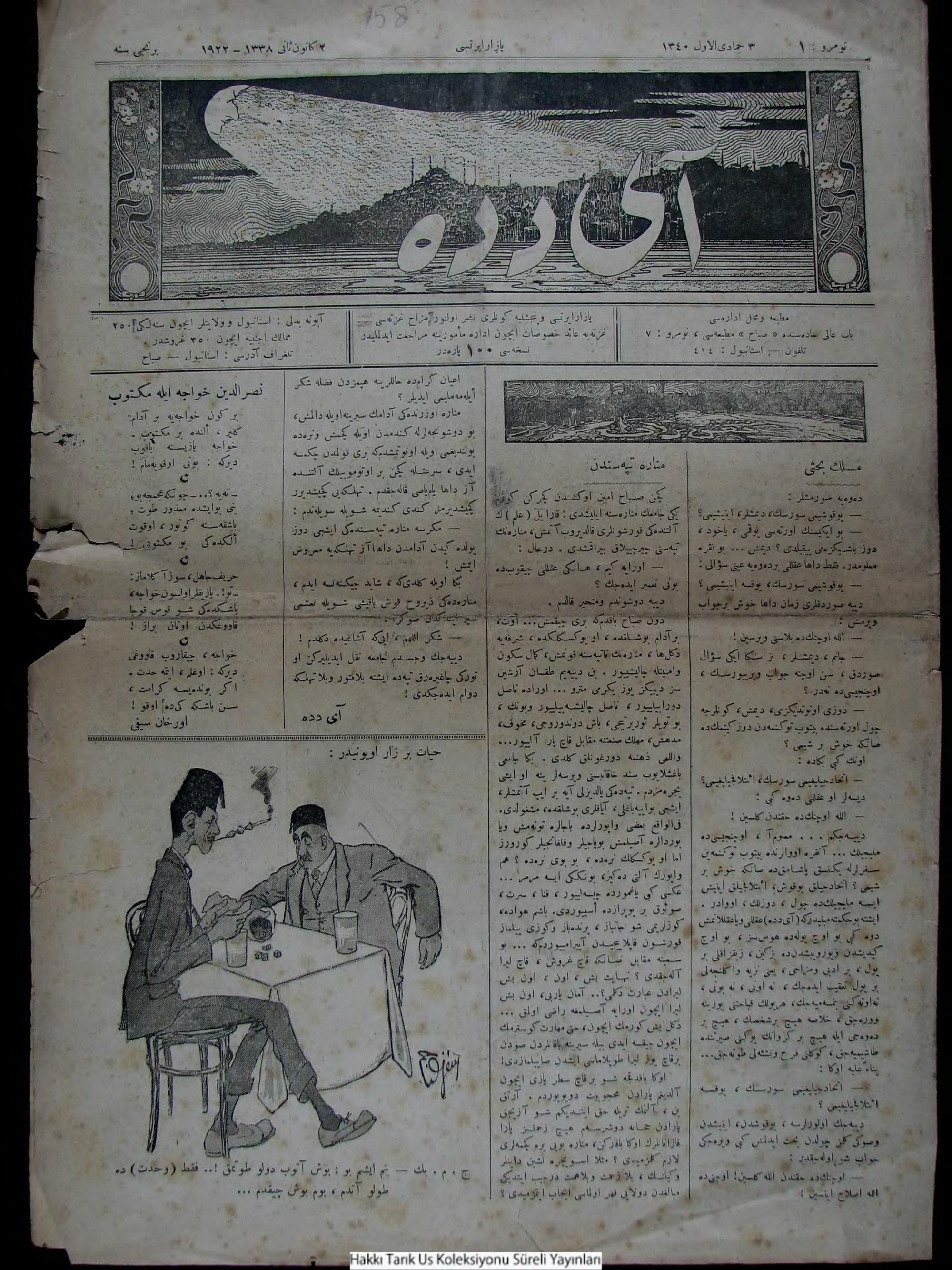 2 Ocak 1922 Tarihli Aydede Gazetesi Sayfa 1