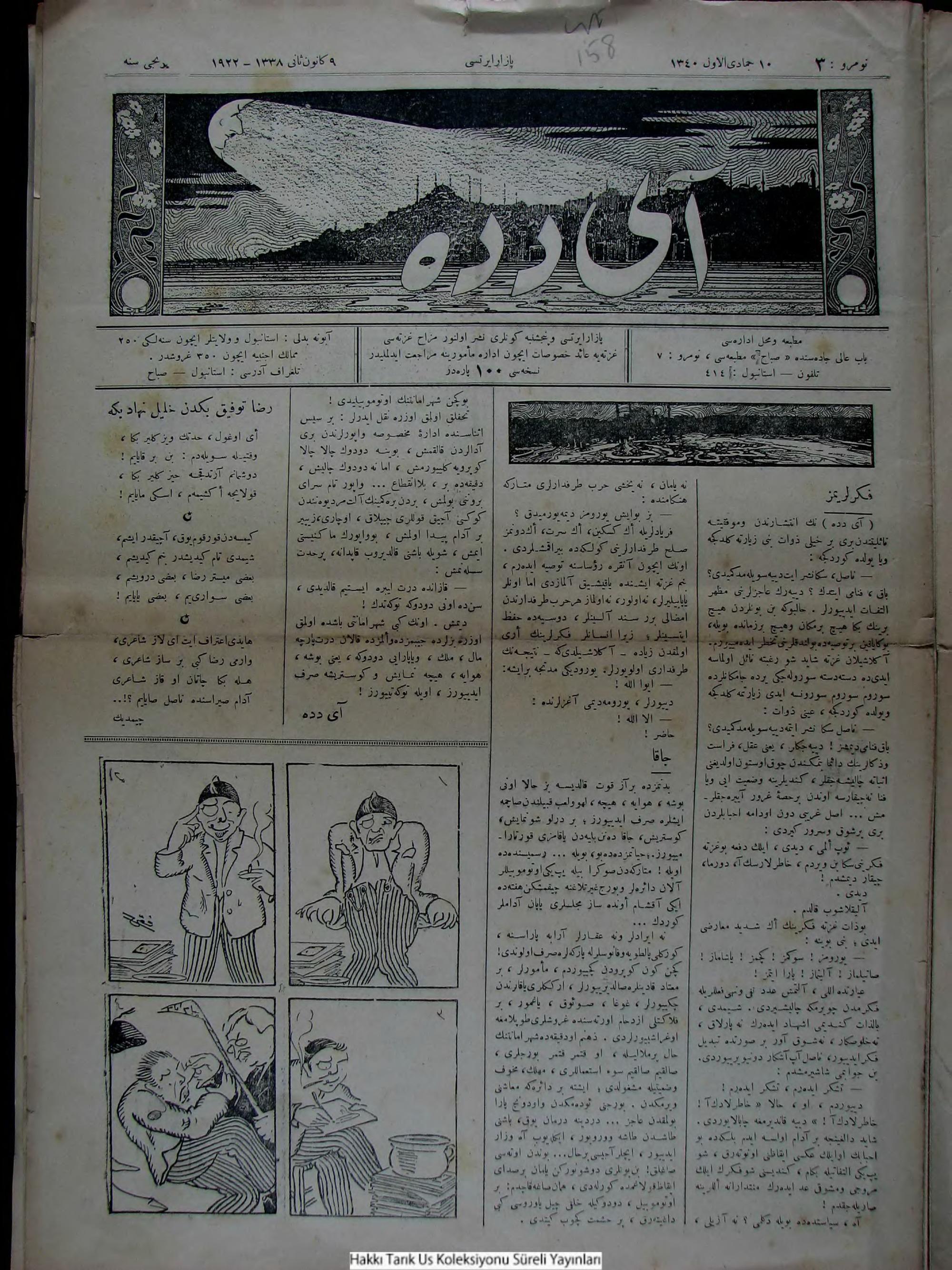 9 Ocak 1922 Tarihli Aydede Gazetesi Sayfa 1