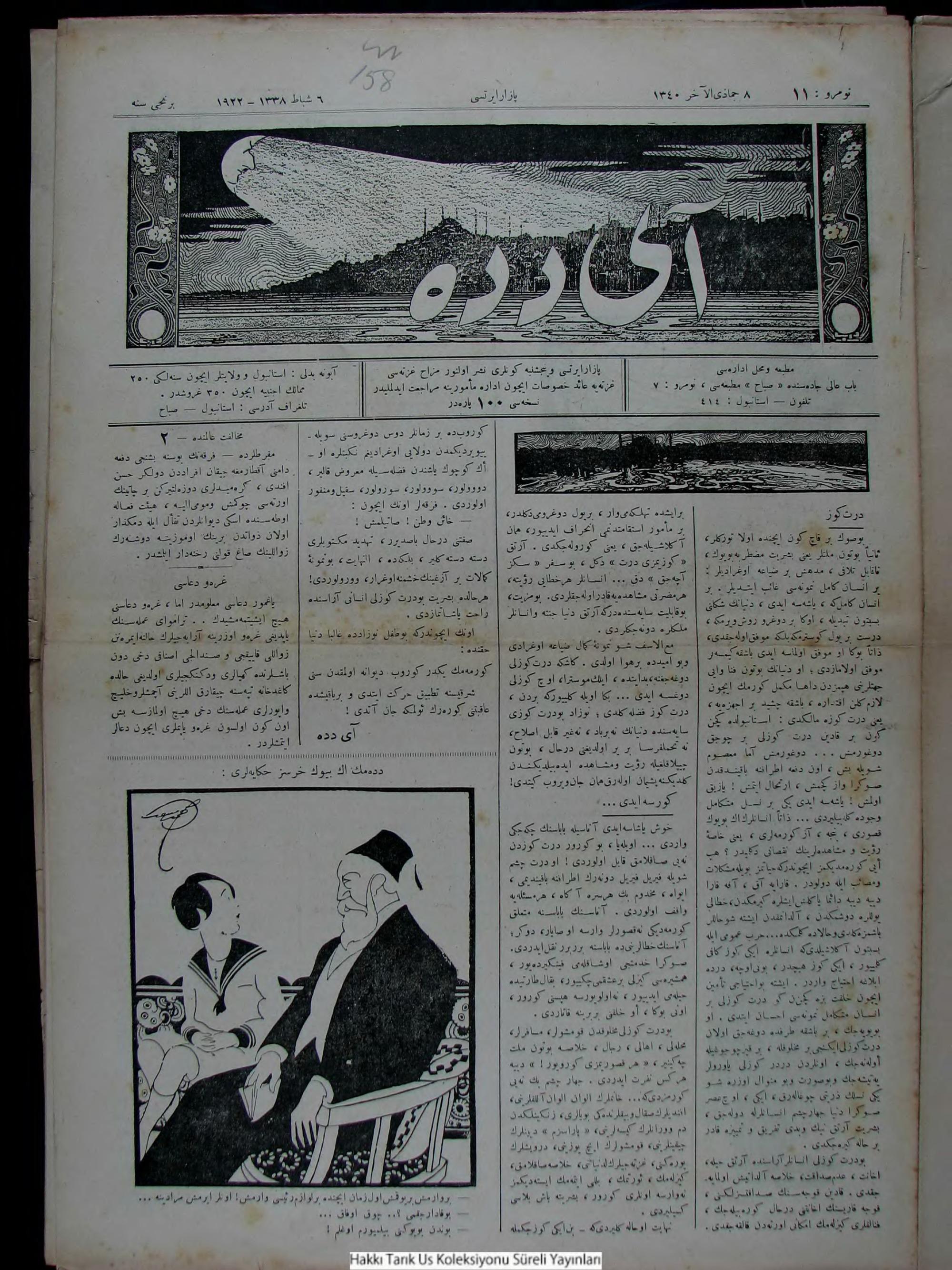 6 Şubat 1922 Tarihli Aydede Gazetesi Sayfa 1