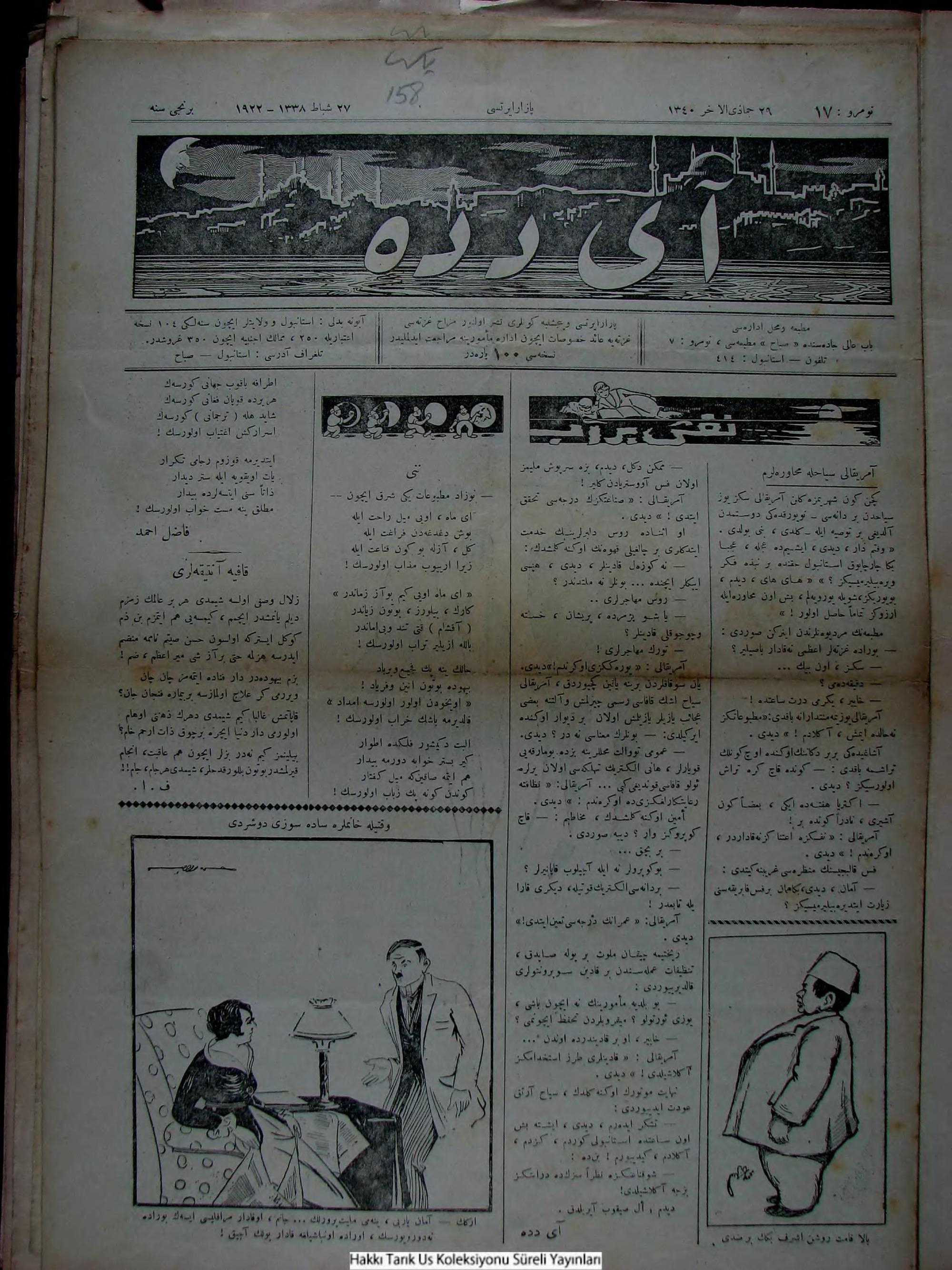 27 Şubat 1922 Tarihli Aydede Gazetesi Sayfa 1