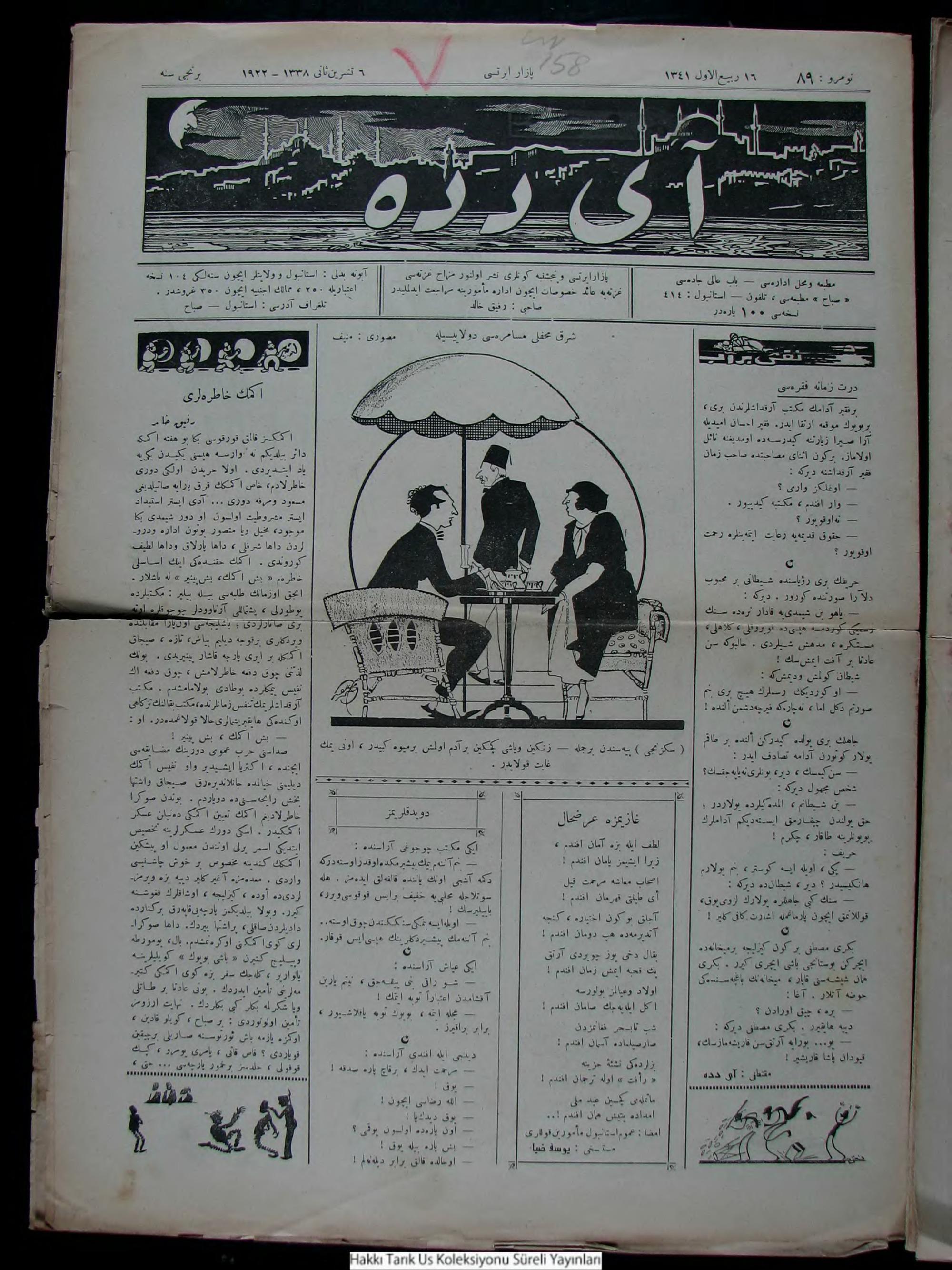7 Kasım 1922 tarihli Aydede Gazetesi Sayfa 1