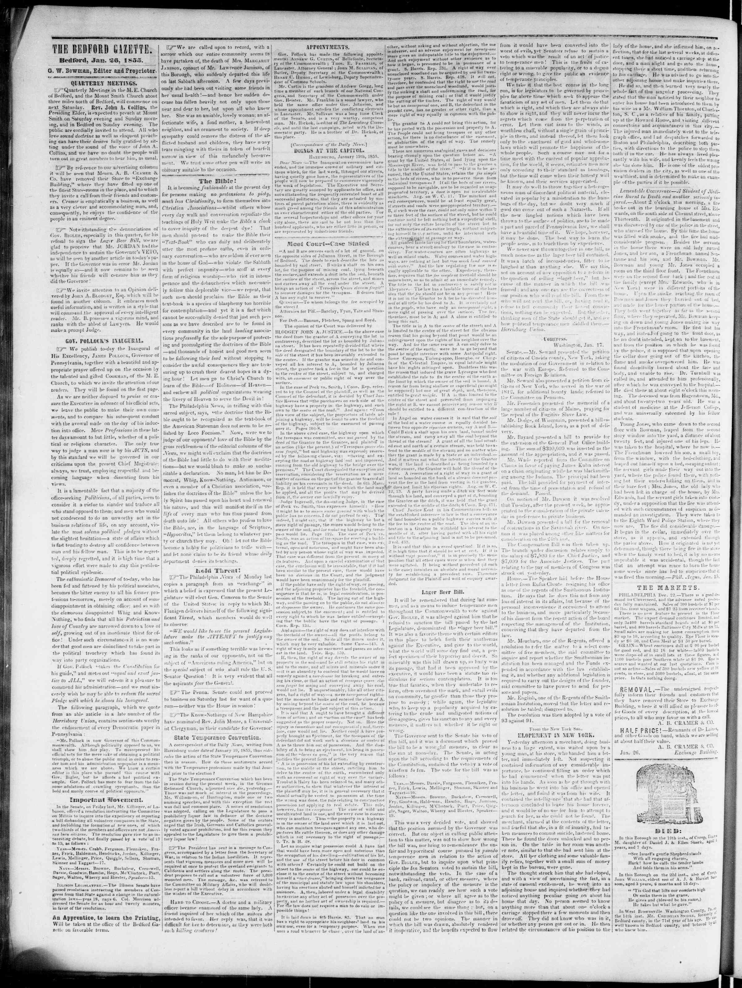 Newspaper of Bedford Gazette dated January 26, 1855 Page 2
