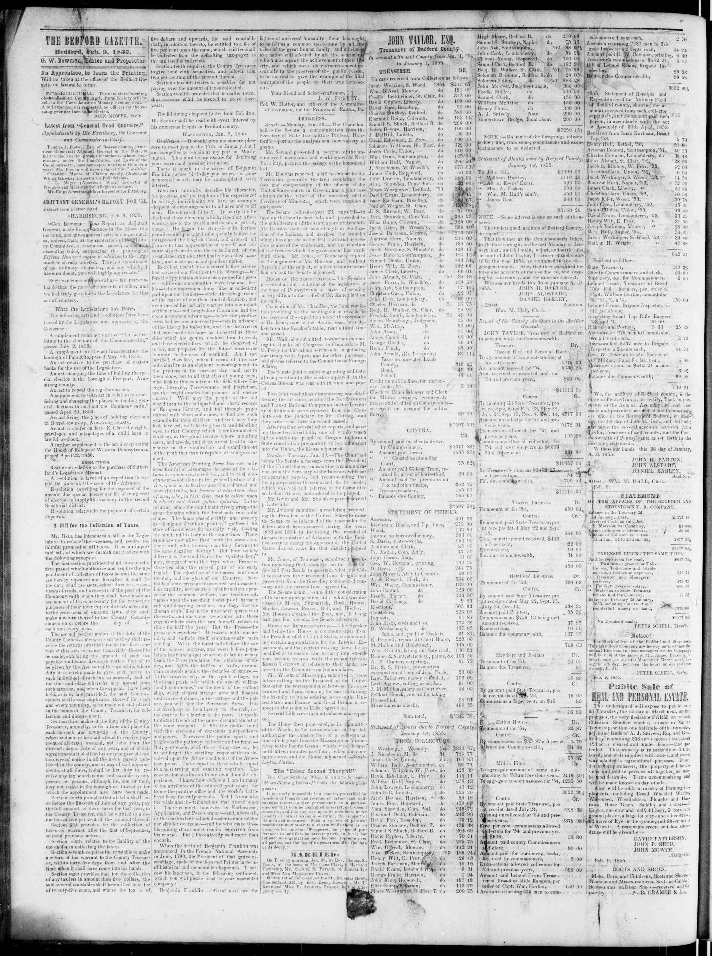 Newspaper of Bedford Gazette dated February 9, 1855 Page 2