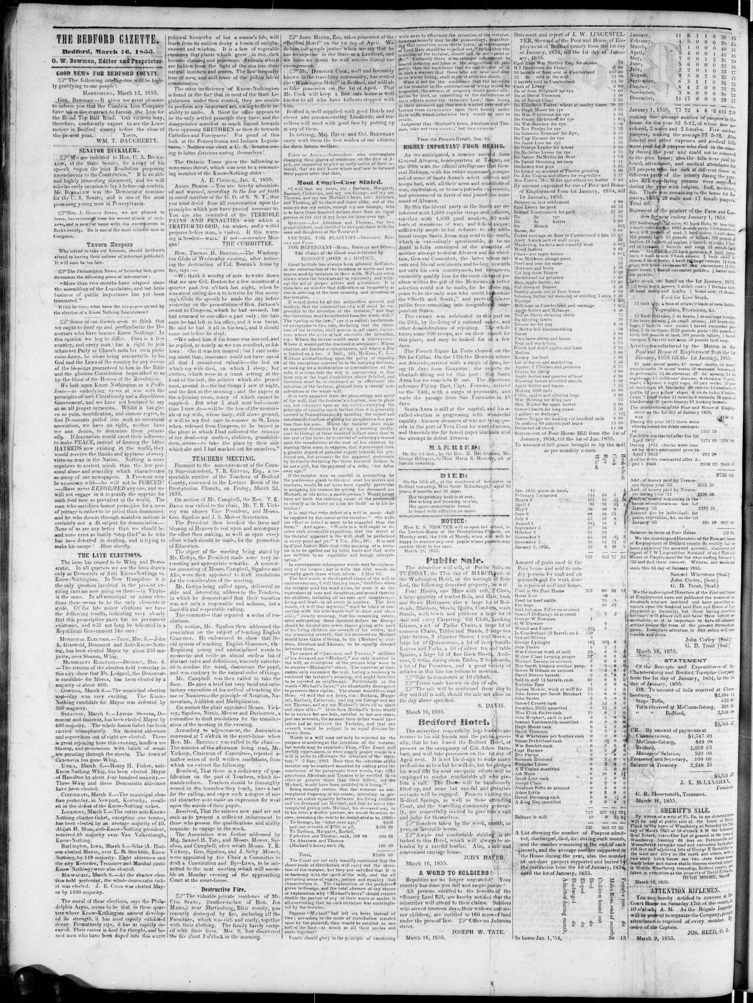 Newspaper of Bedford Gazette dated March 16, 1855 Page 2