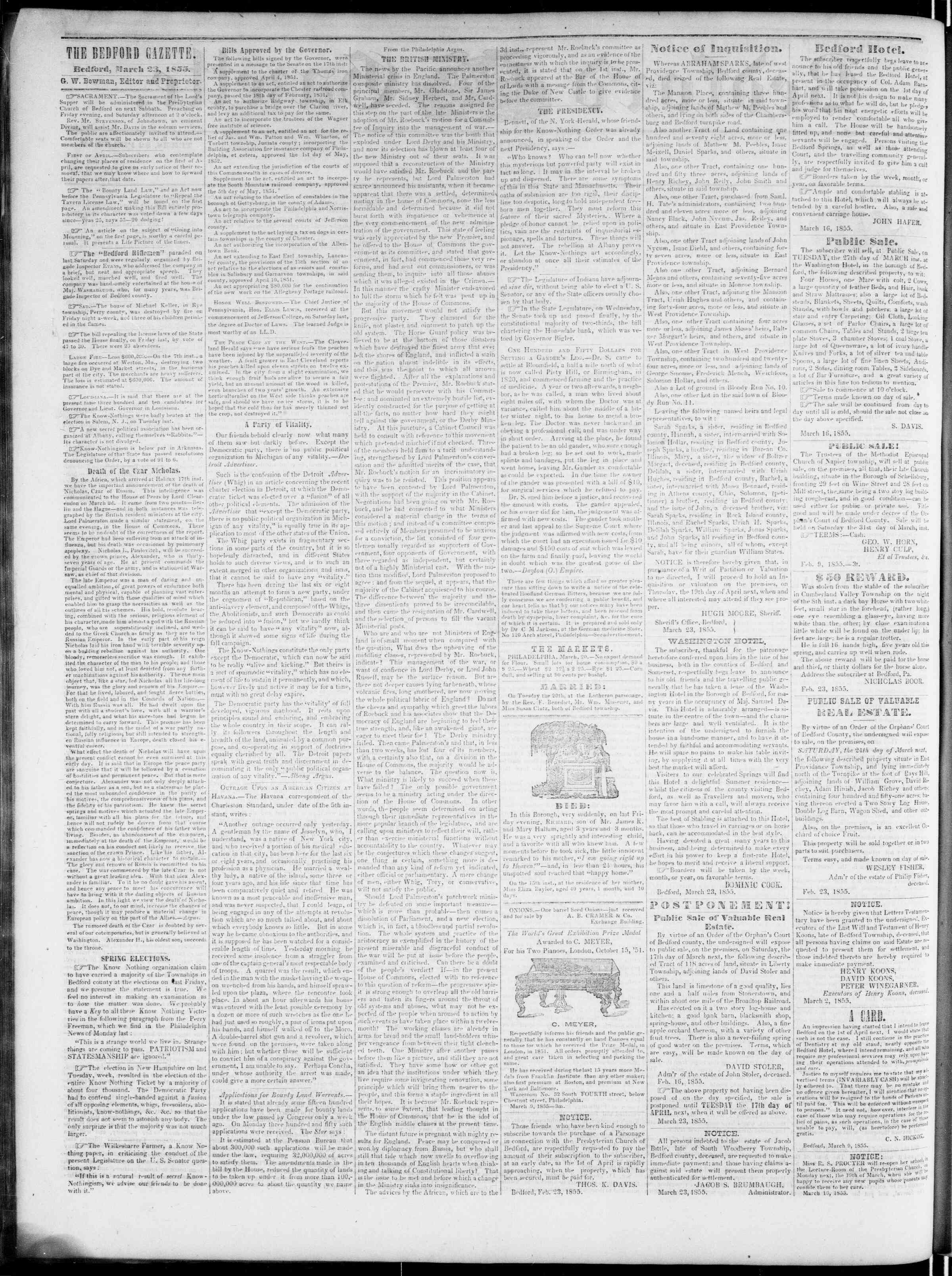 Newspaper of Bedford Gazette dated March 23, 1855 Page 2