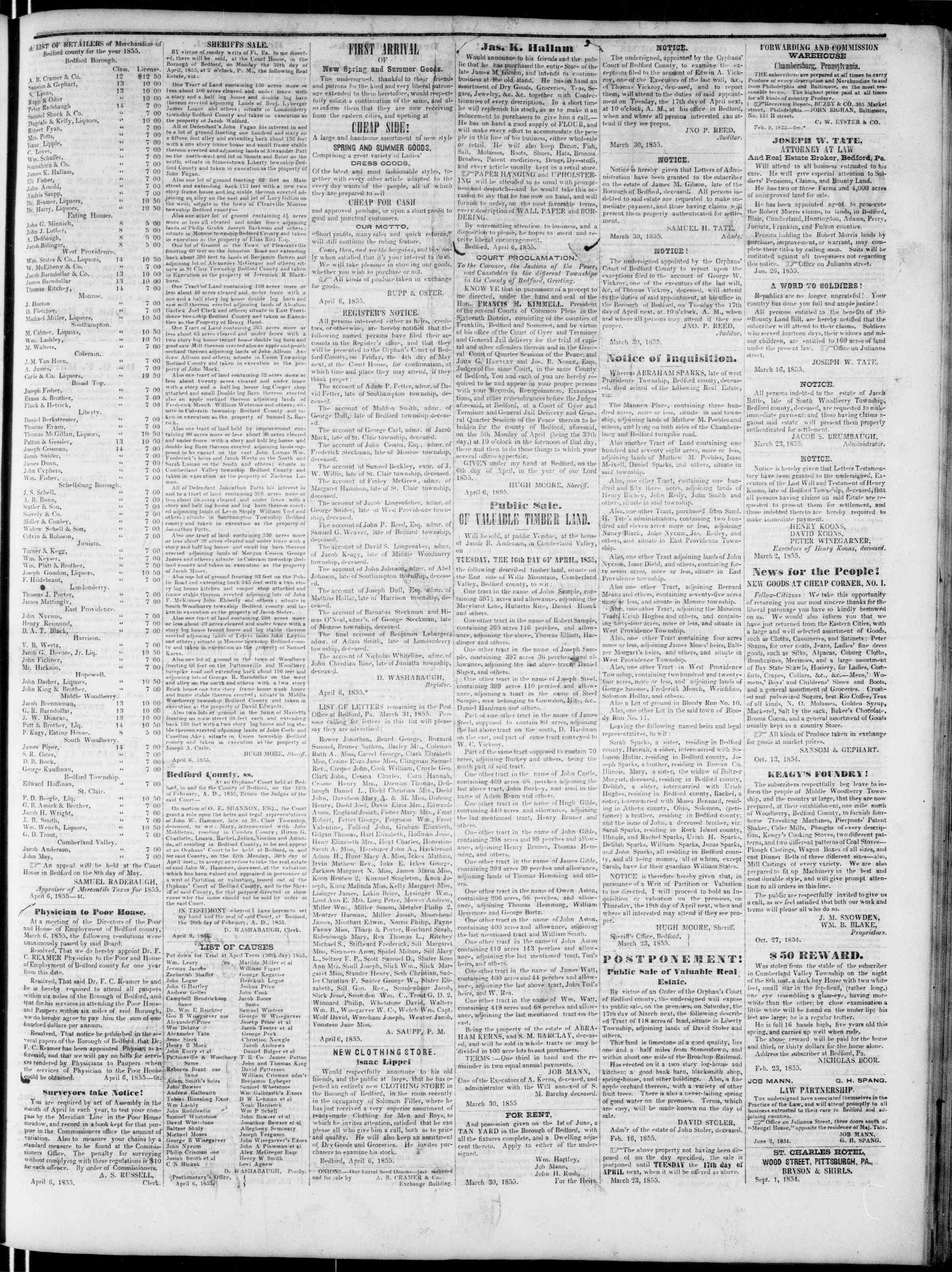 Newspaper of Bedford Gazette dated April 6, 1855 Page 3