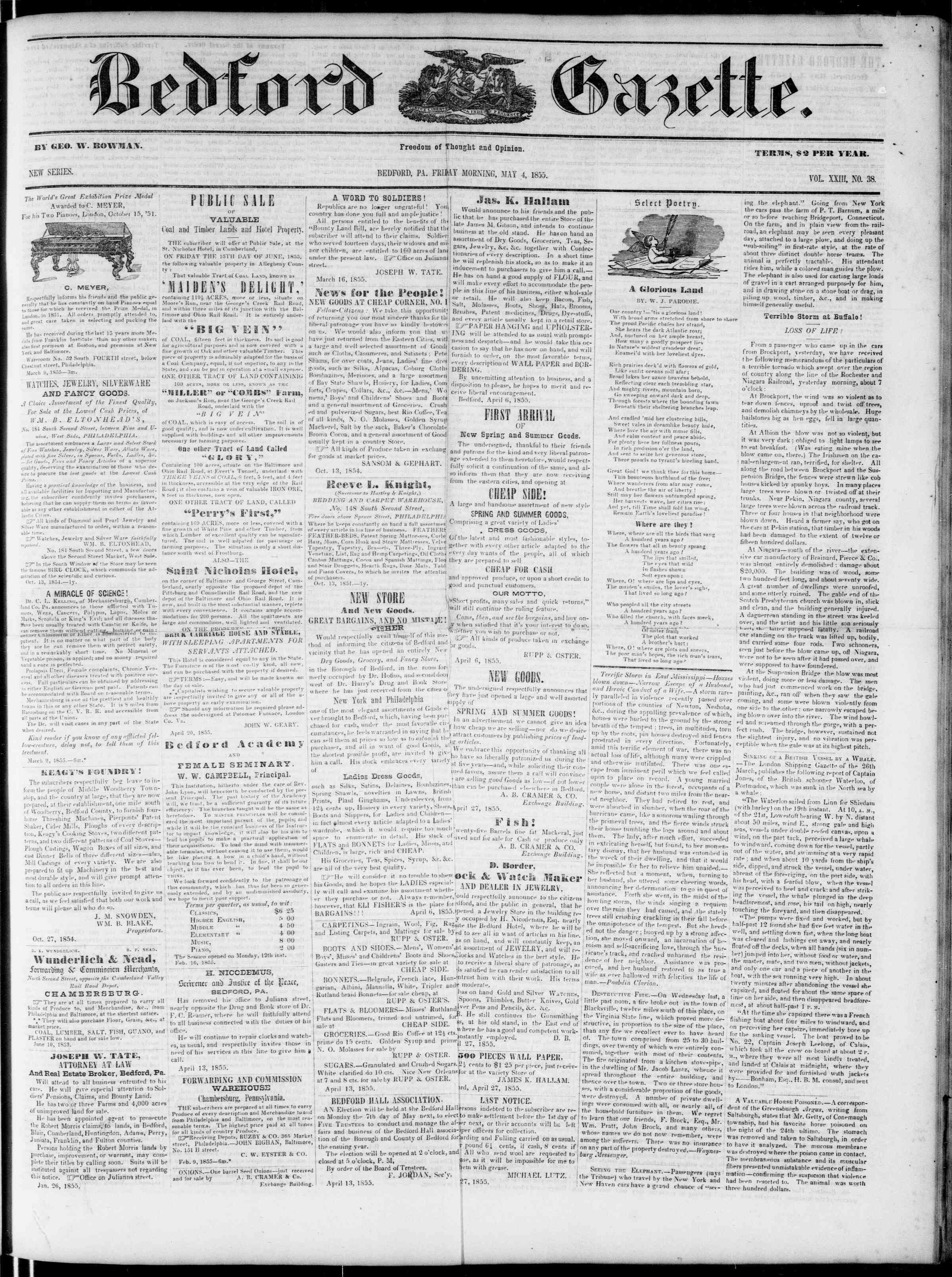 Newspaper of Bedford Gazette dated May 4, 1855 Page 1