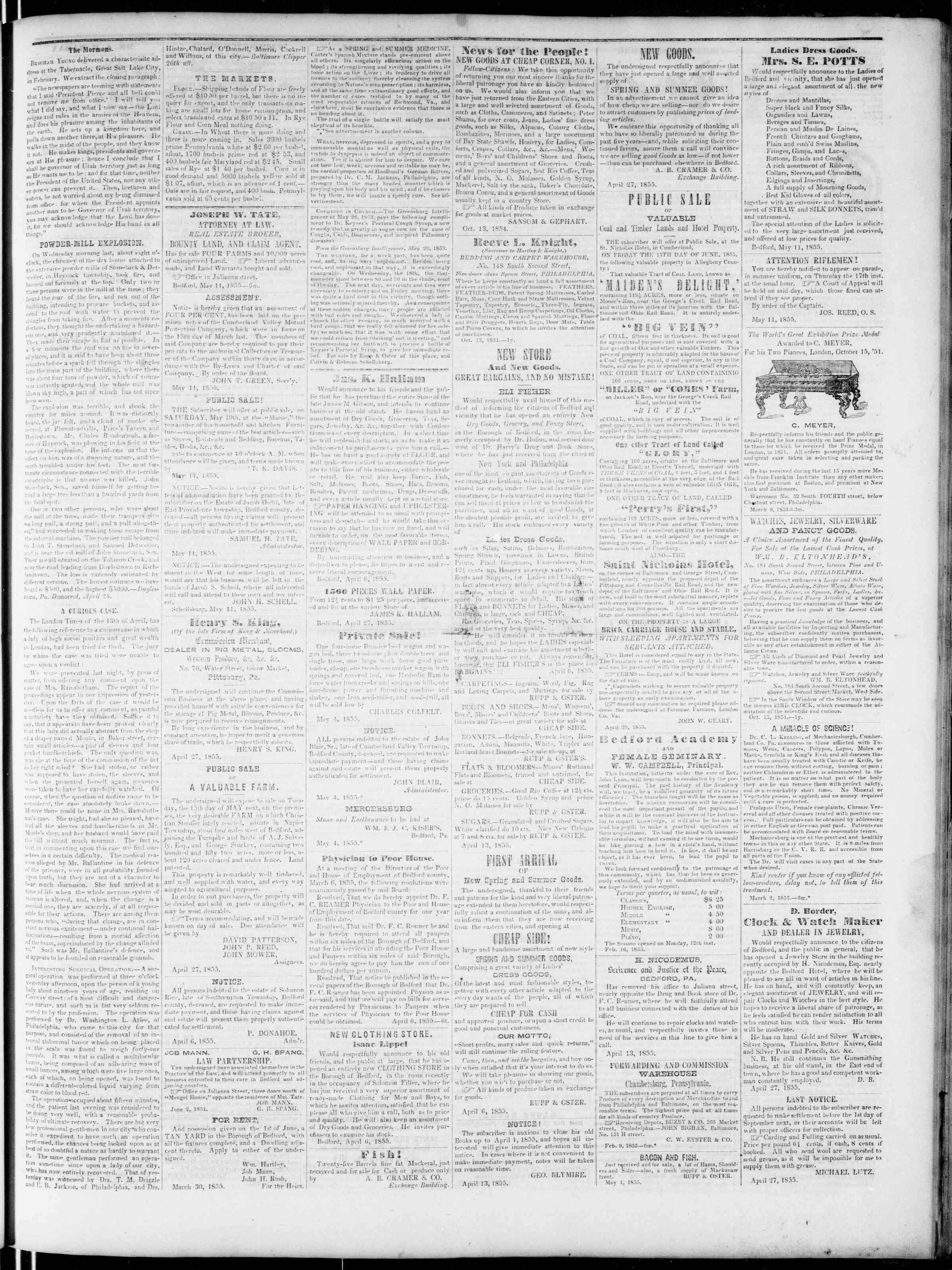 Newspaper of Bedford Gazette dated May 11, 1855 Page 3