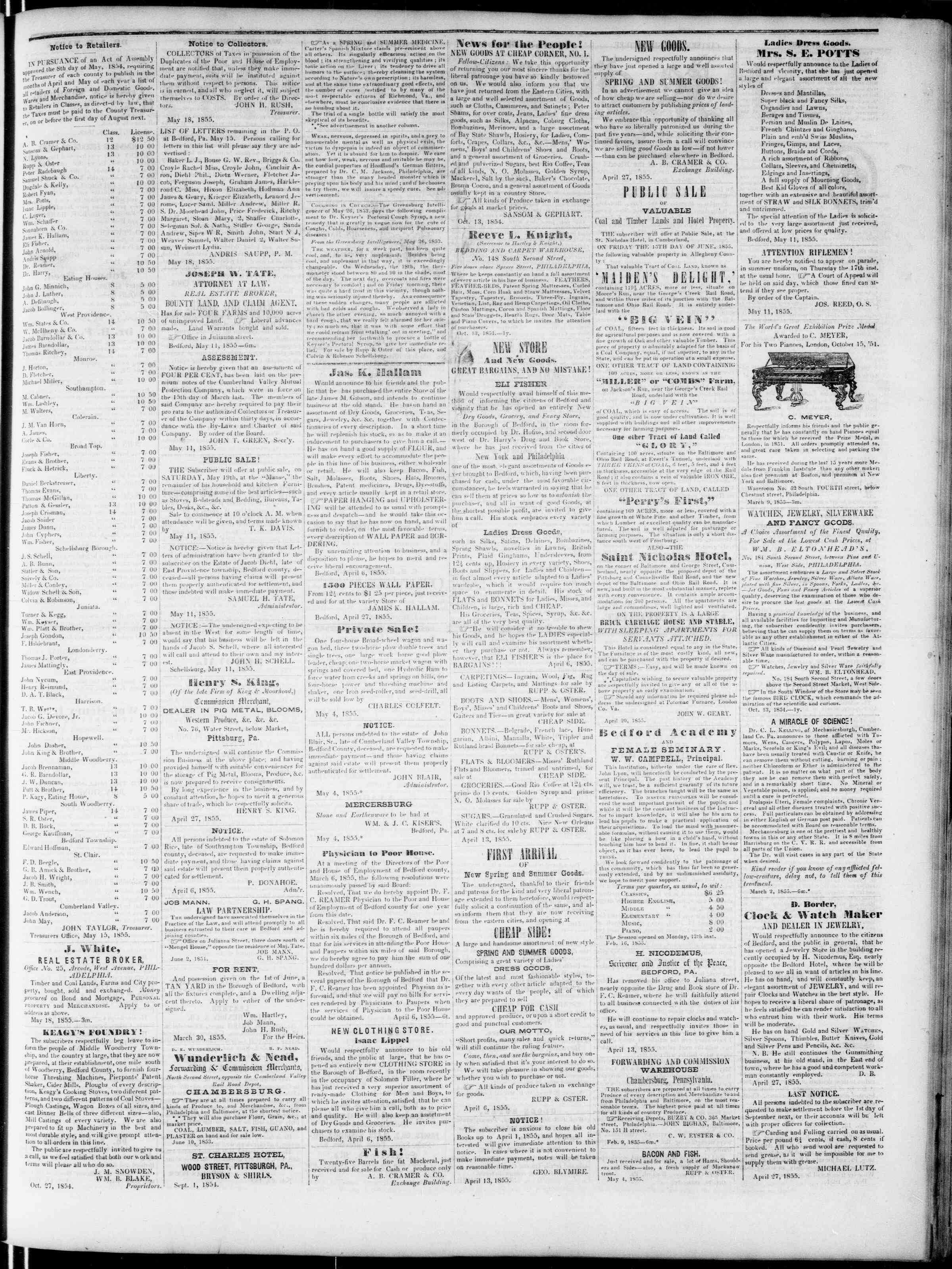 Newspaper of Bedford Gazette dated May 18, 1855 Page 3