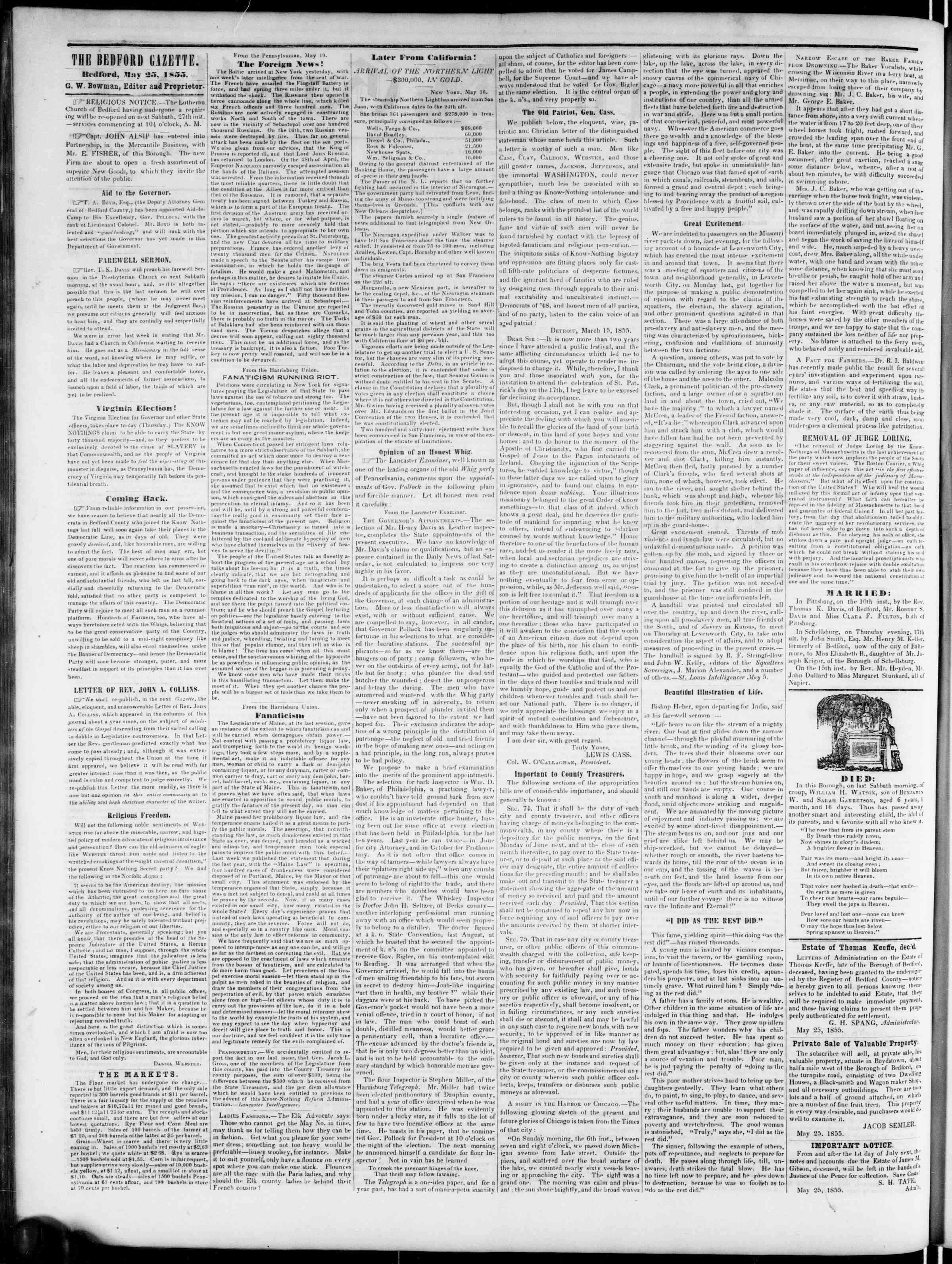 Newspaper of Bedford Gazette dated May 25, 1855 Page 2