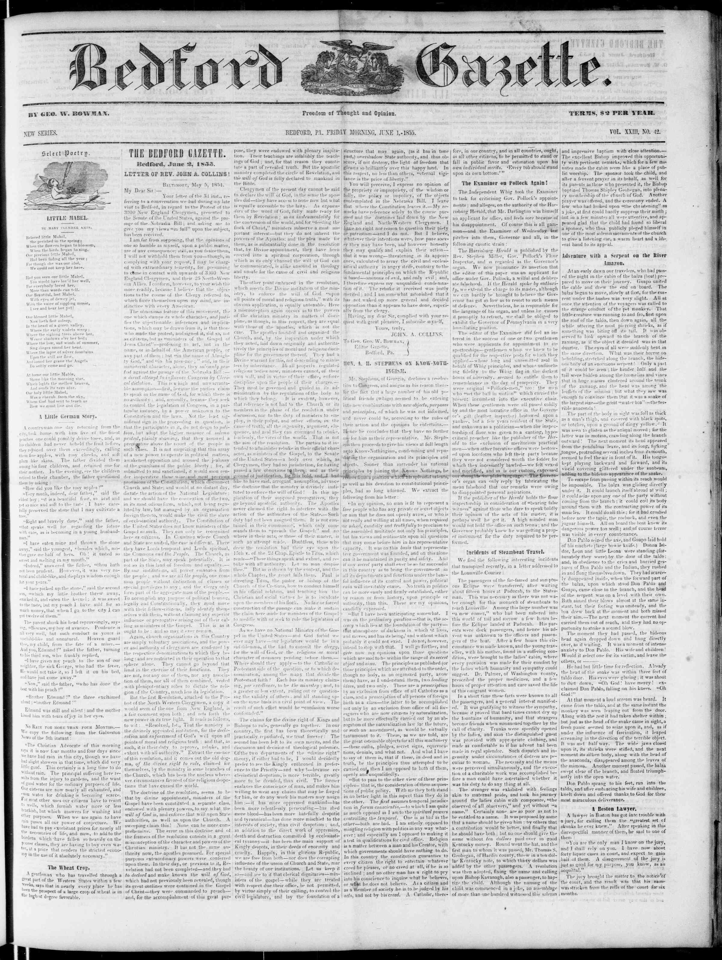 Newspaper of Bedford Gazette dated 1 Haziran 1855 Page 1