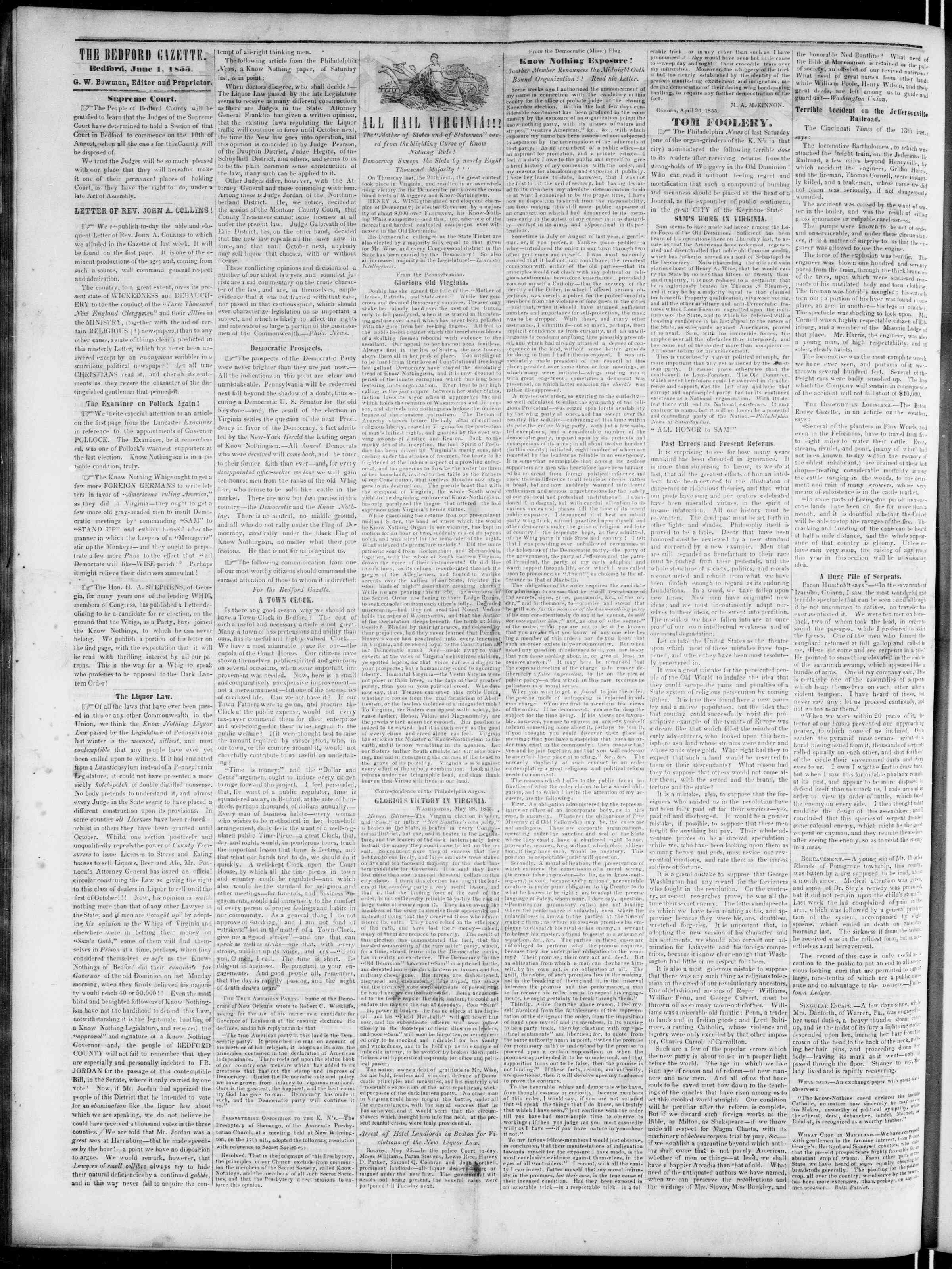 Newspaper of Bedford Gazette dated June 1, 1855 Page 2