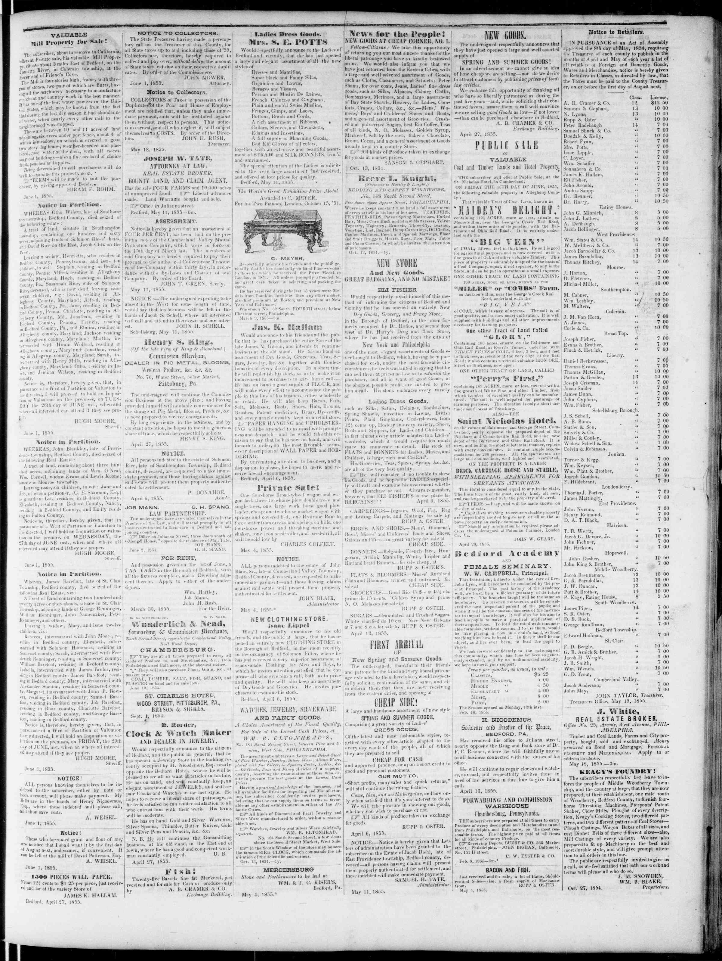 Newspaper of Bedford Gazette dated June 1, 1855 Page 3