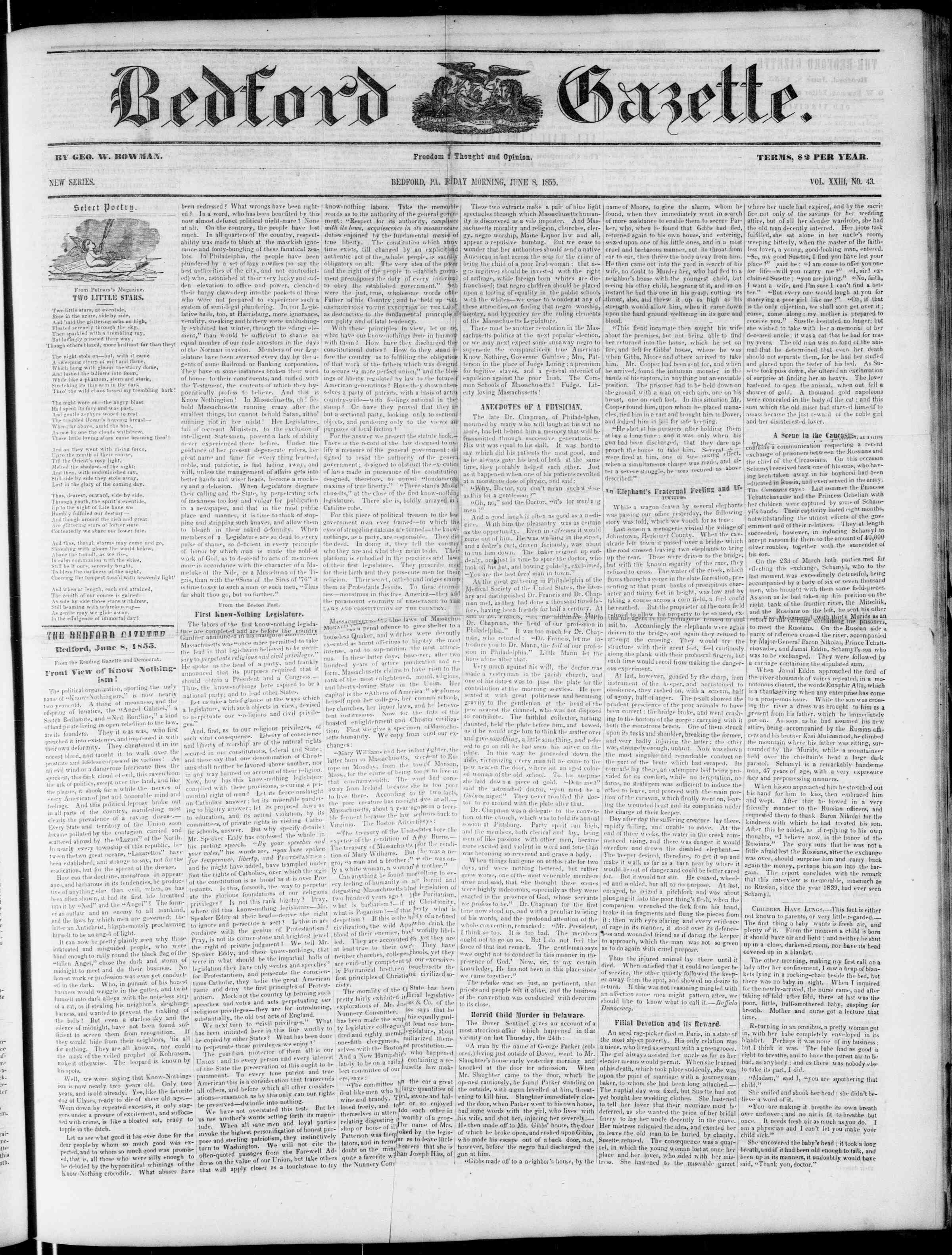 Newspaper of Bedford Gazette dated June 8, 1855 Page 1