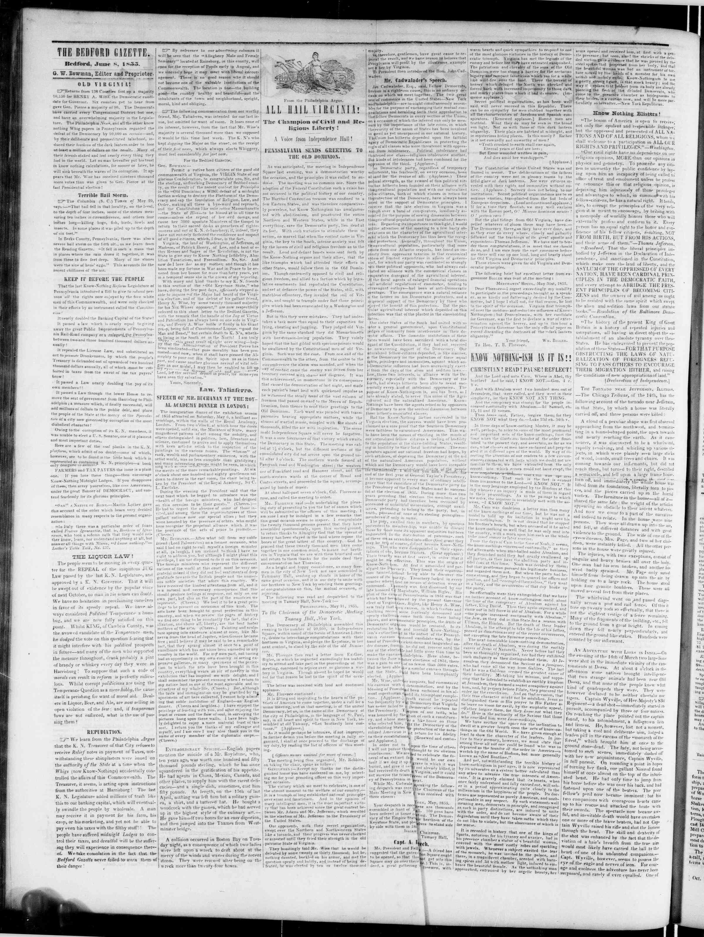 Newspaper of Bedford Gazette dated June 8, 1855 Page 2