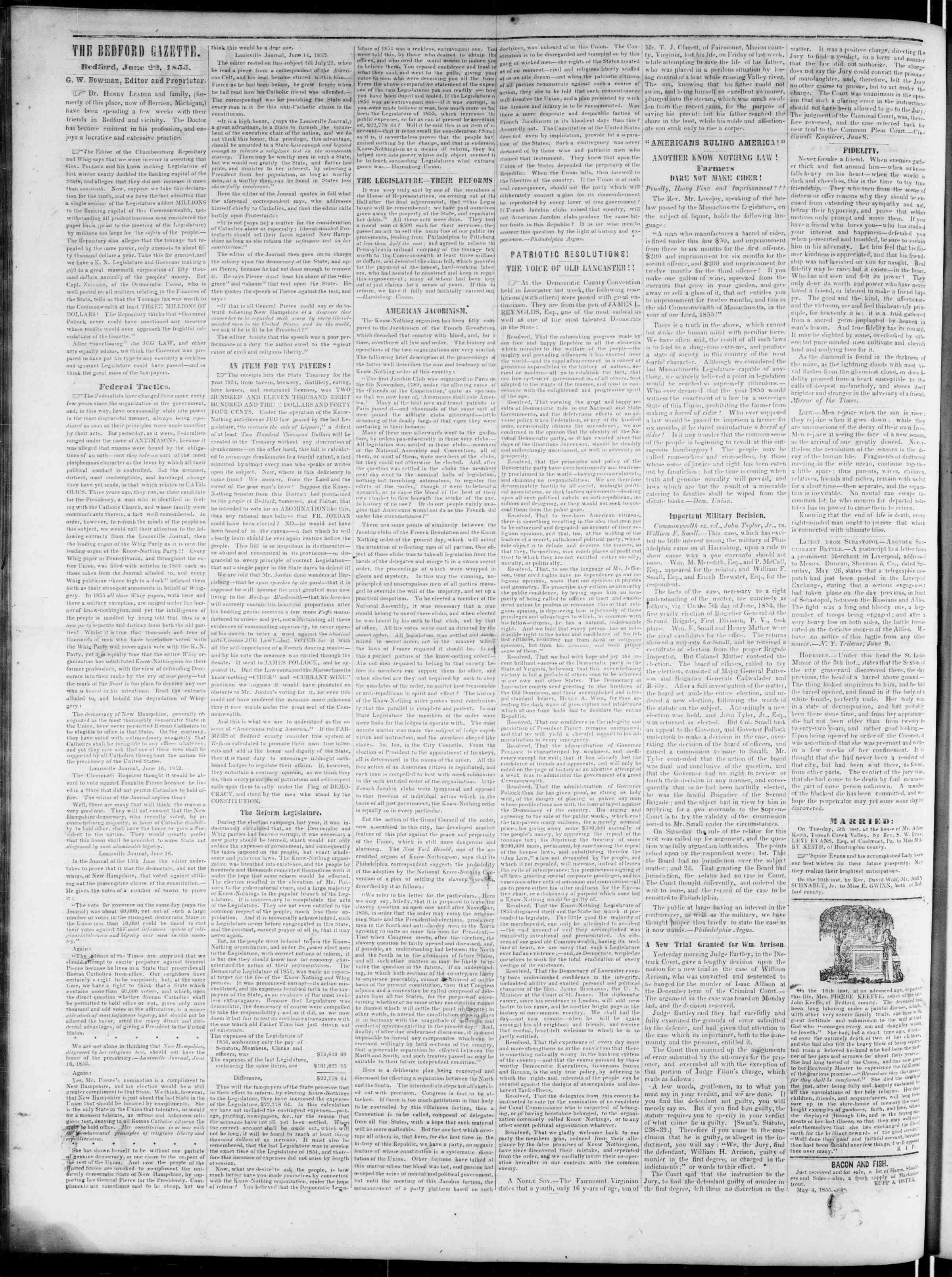 Newspaper of Bedford Gazette dated June 22, 1855 Page 2