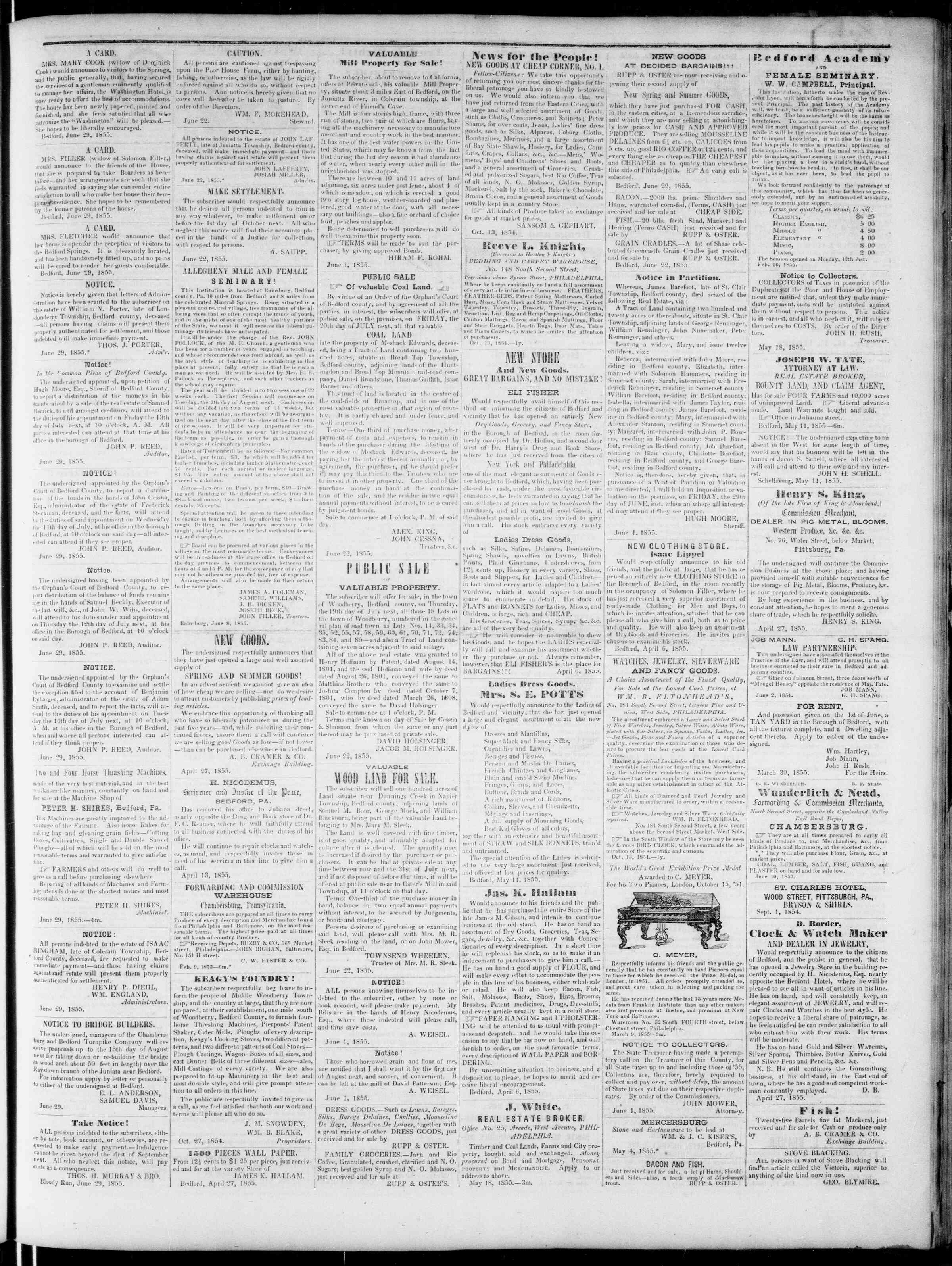 Newspaper of Bedford Gazette dated June 29, 1855 Page 3