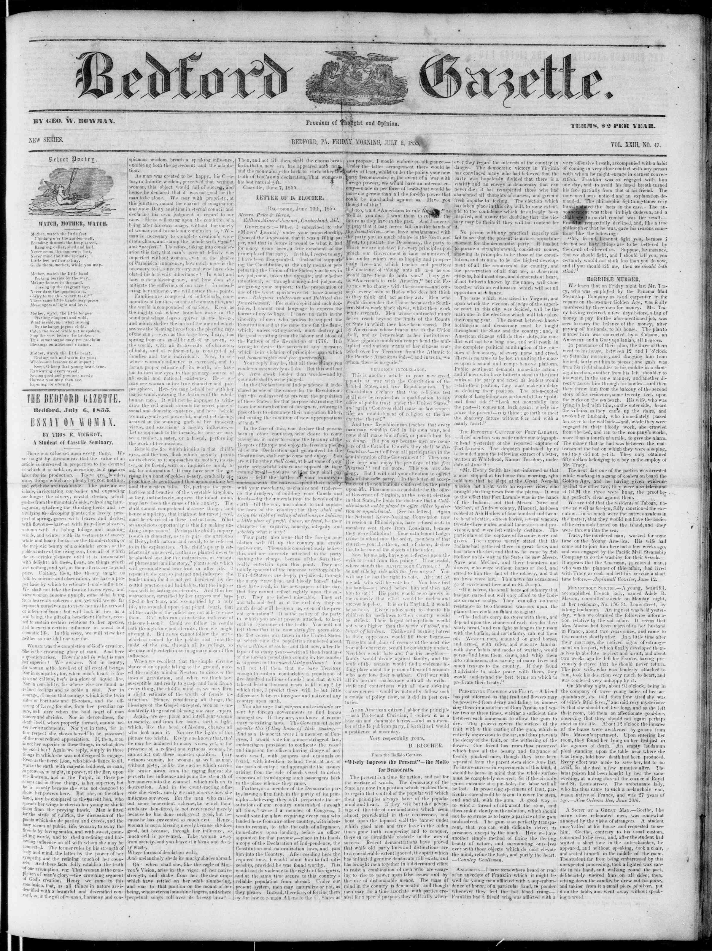 Newspaper of Bedford Gazette dated July 6, 1855 Page 1