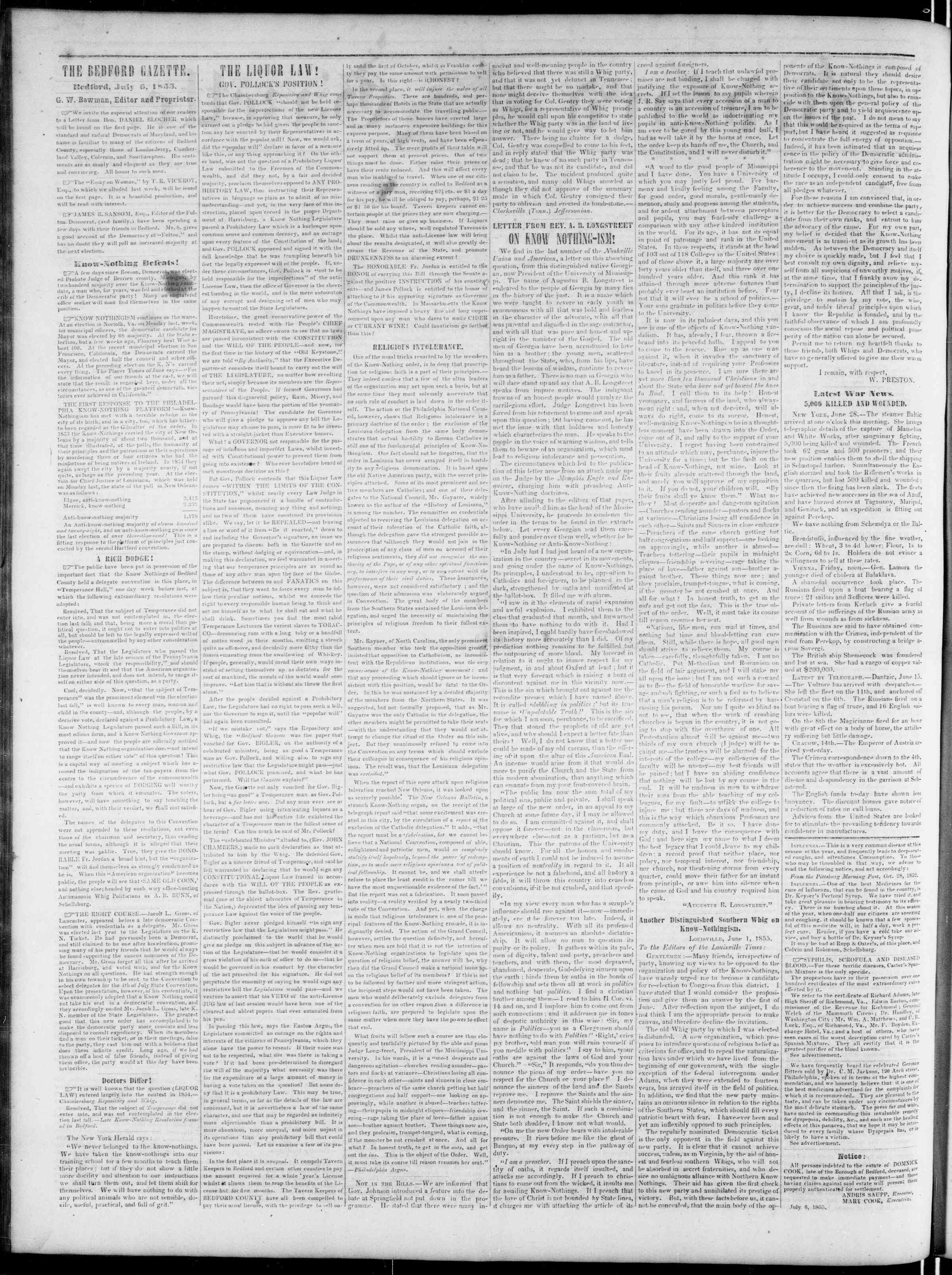 Newspaper of Bedford Gazette dated July 6, 1855 Page 2