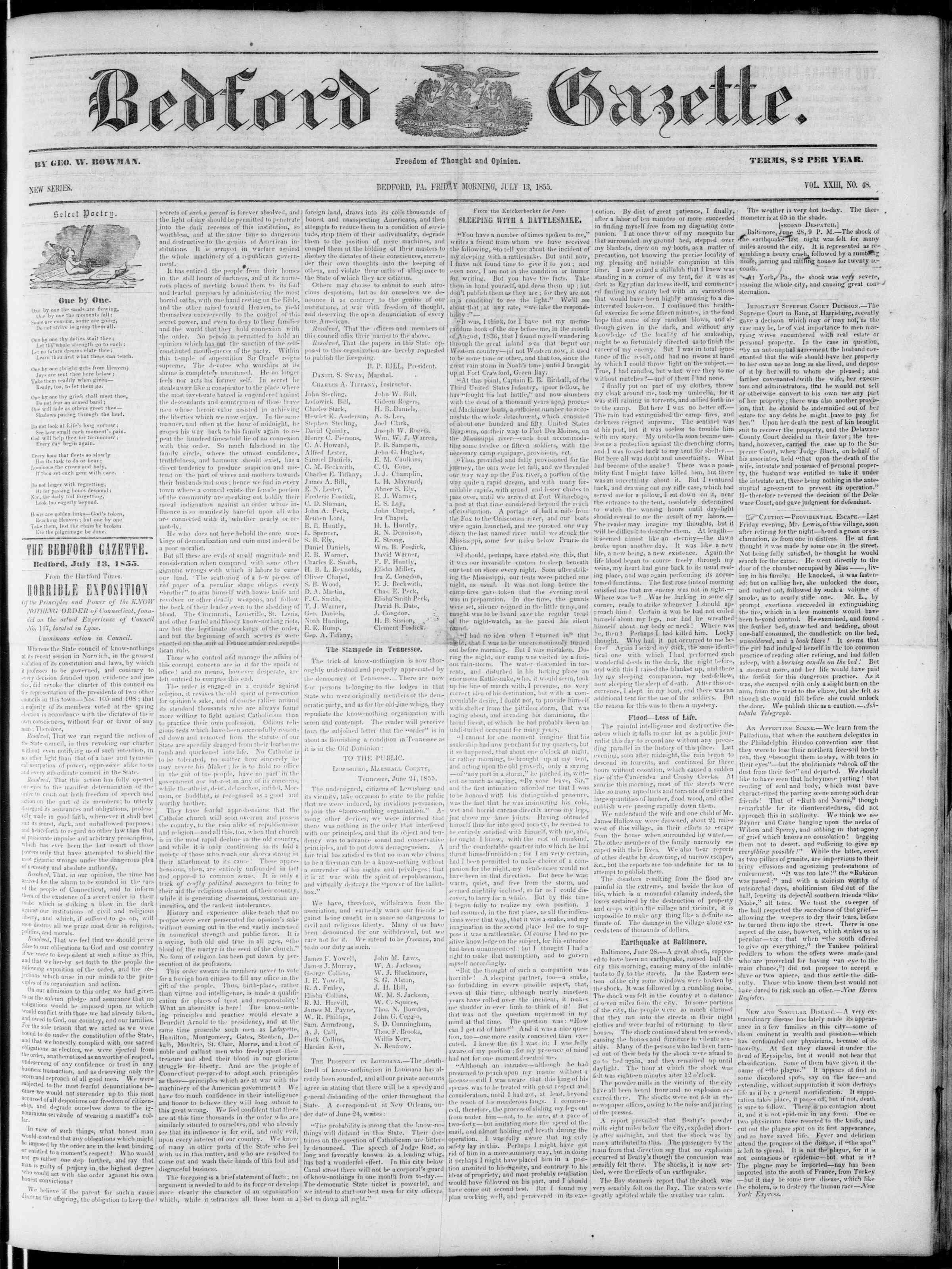 13 Temmuz 1855 tarihli Bedford Gazette Gazetesi Sayfa 1