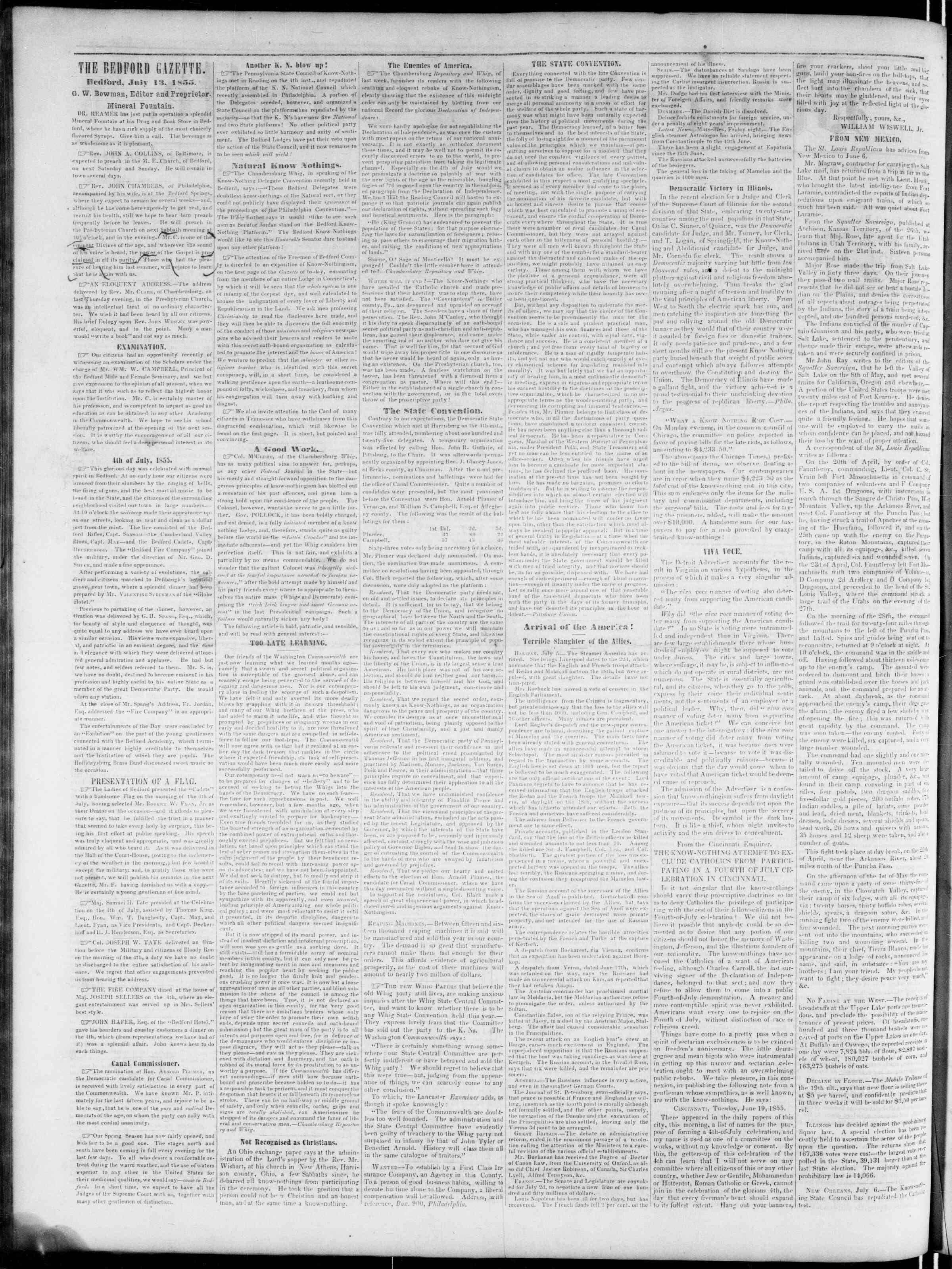 Newspaper of Bedford Gazette dated July 13, 1855 Page 2