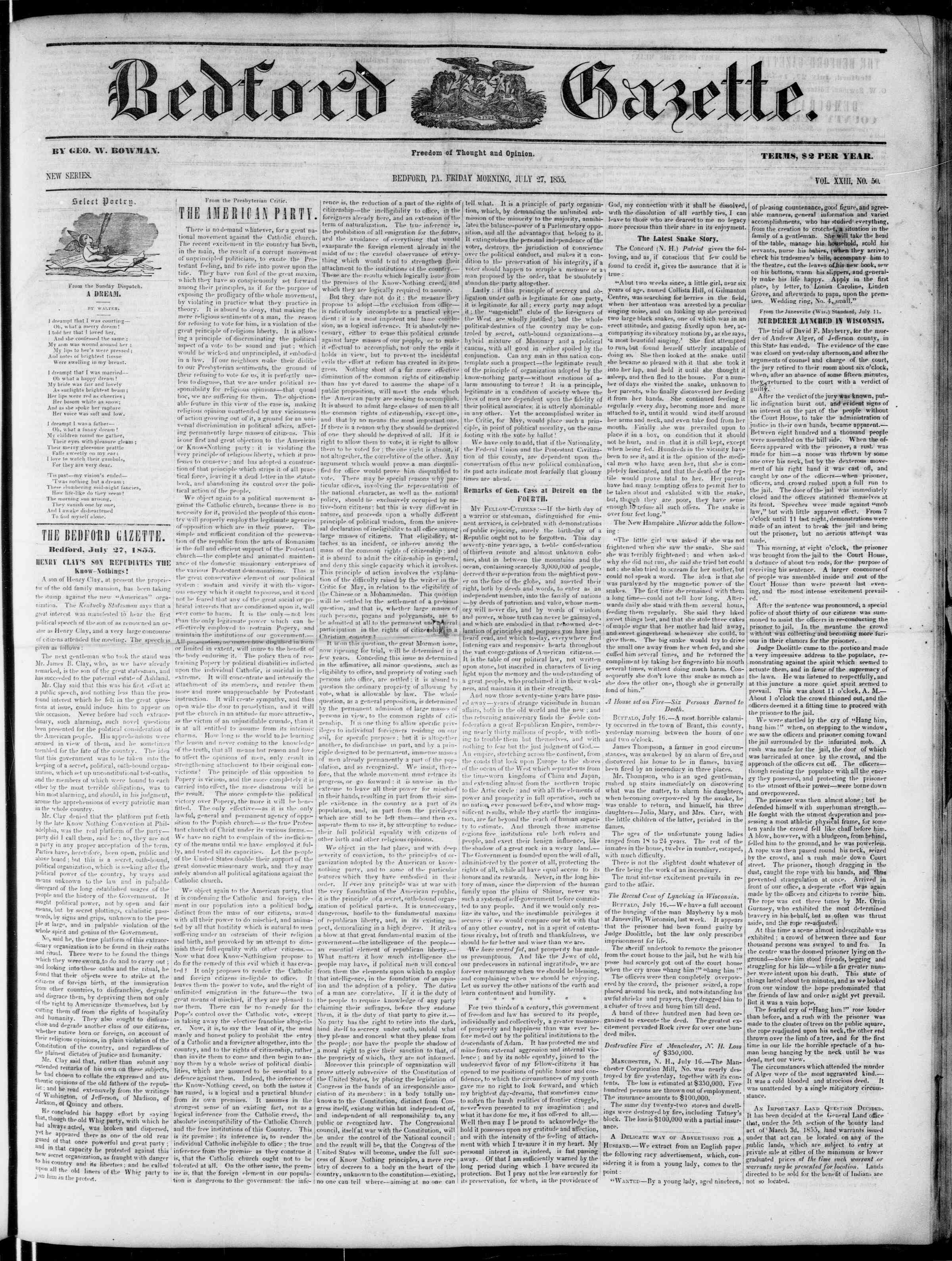 Newspaper of Bedford Gazette dated July 27, 1855 Page 1