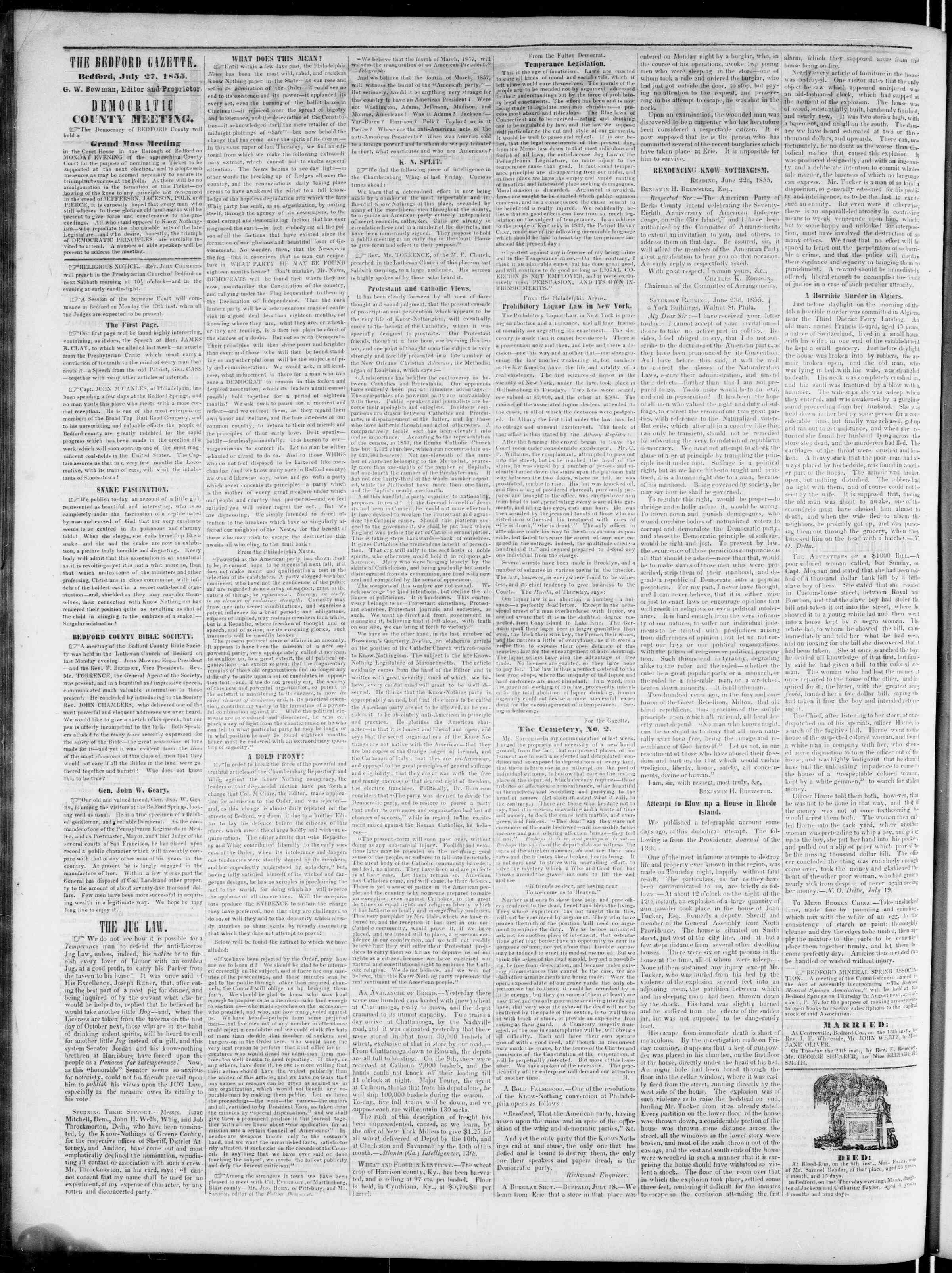 Newspaper of Bedford Gazette dated July 27, 1855 Page 2