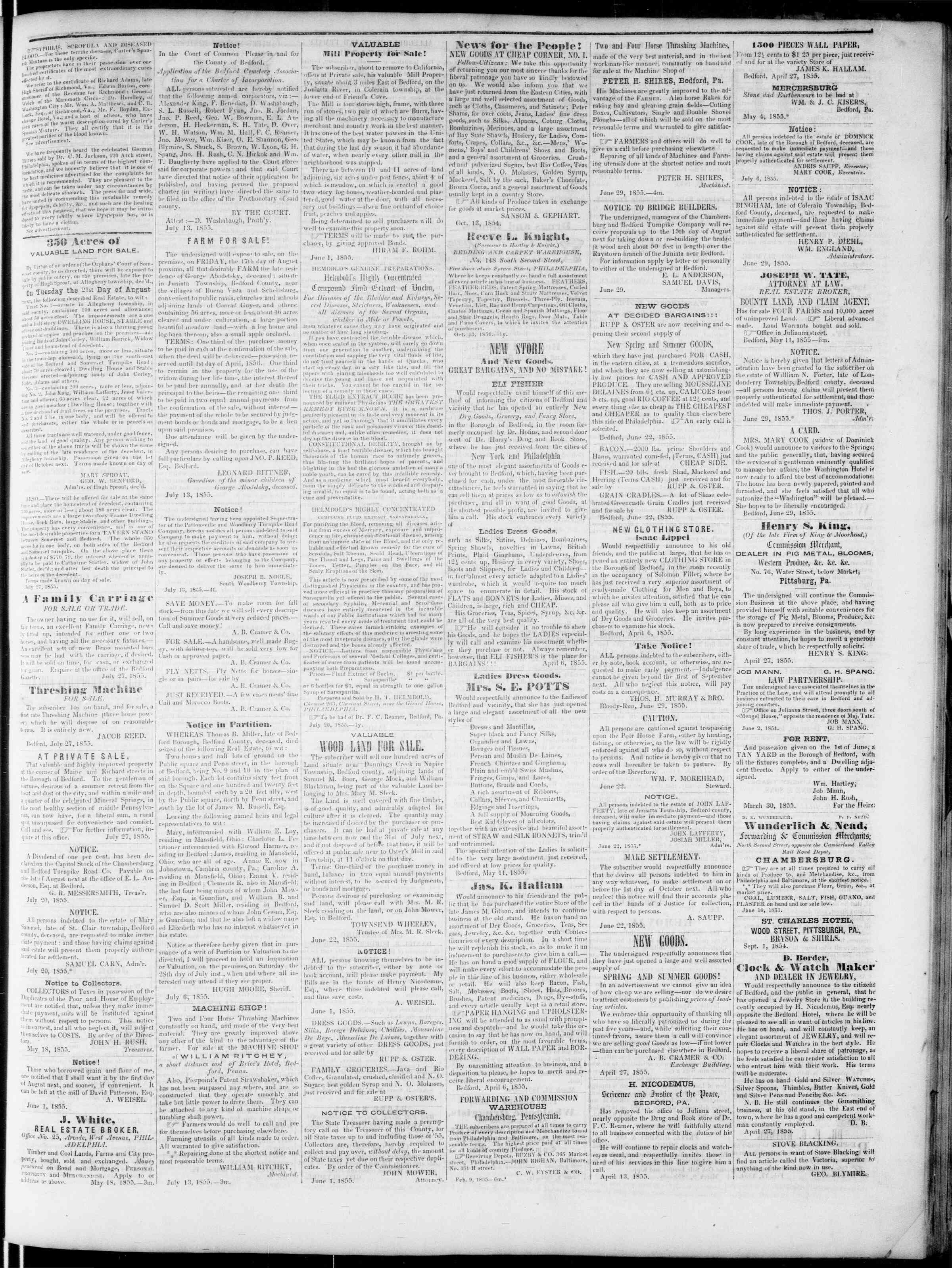 Newspaper of Bedford Gazette dated July 27, 1855 Page 3