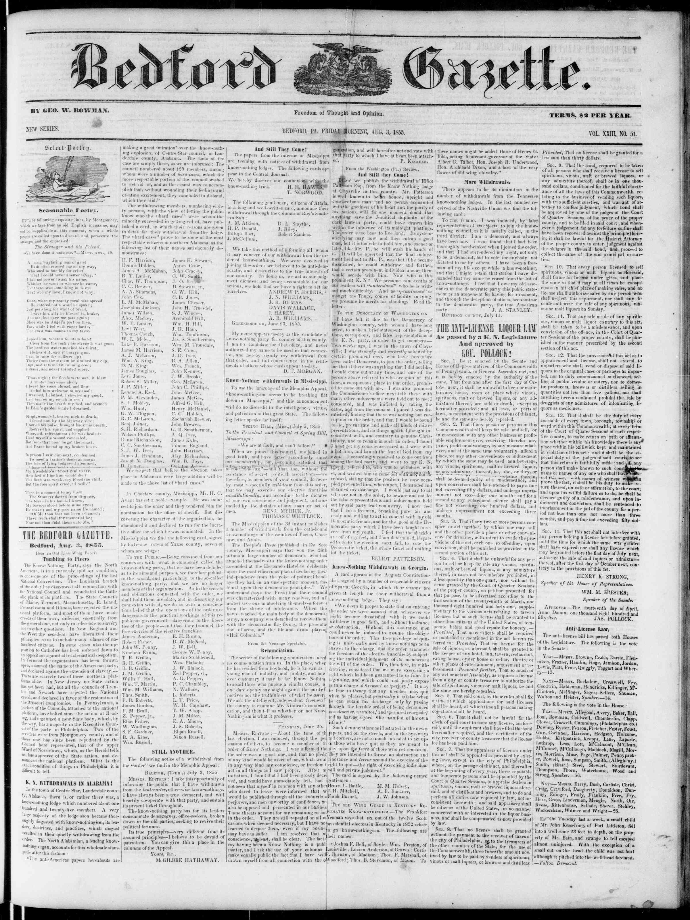 Newspaper of Bedford Gazette dated August 3, 1855 Page 1