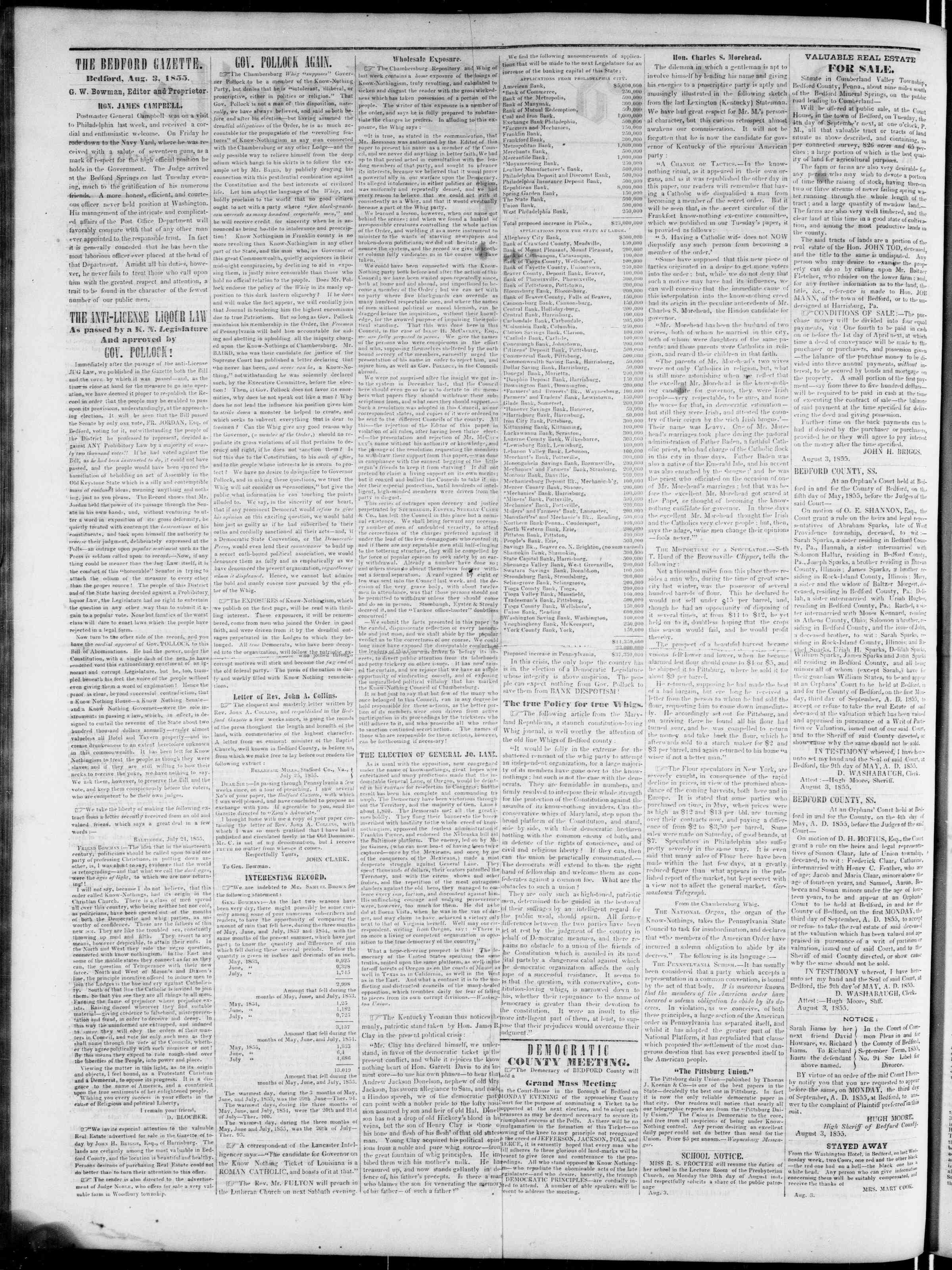 Newspaper of Bedford Gazette dated August 3, 1855 Page 2