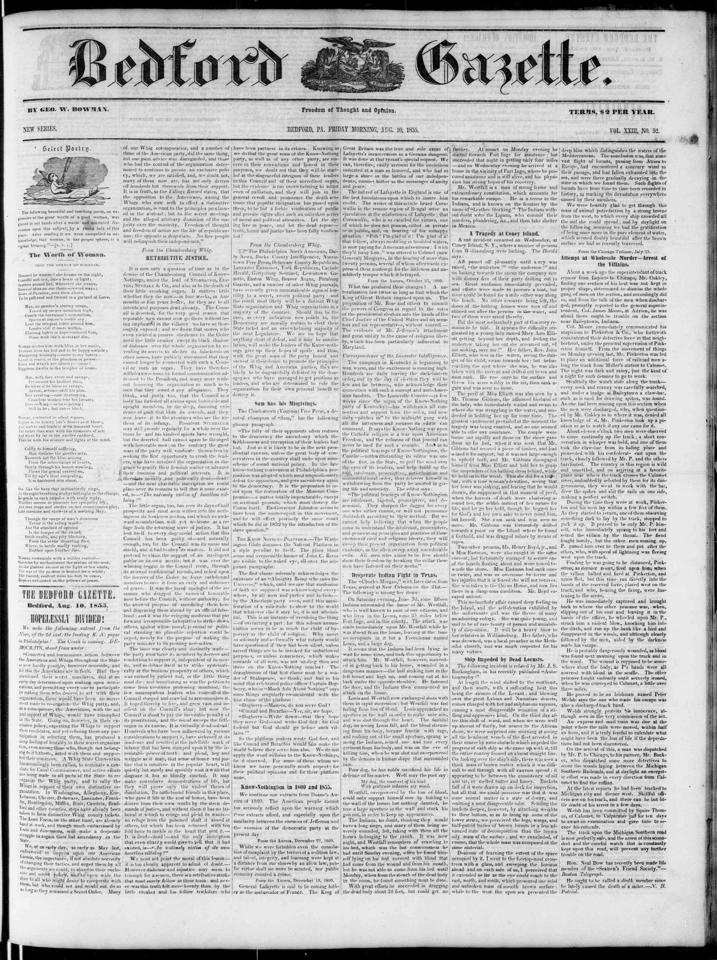 Newspaper of Bedford Gazette dated August 10, 1855 Page 1