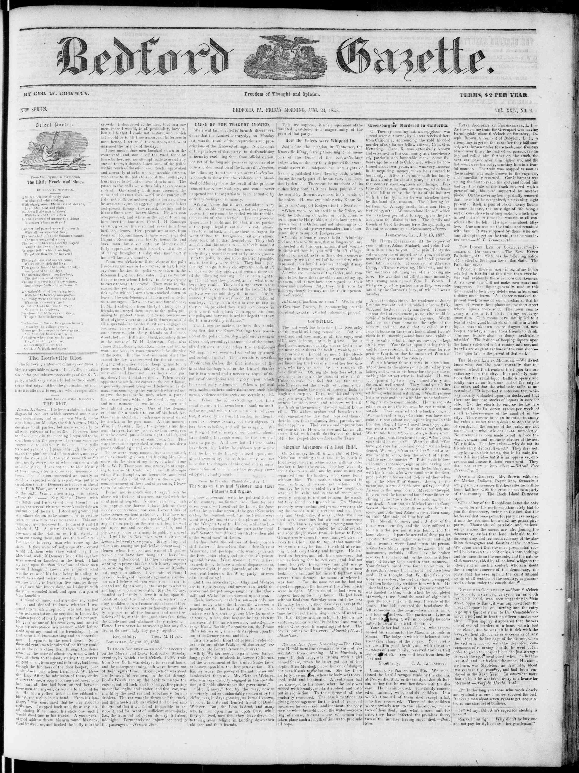 Newspaper of Bedford Gazette dated August 24, 1855 Page 1