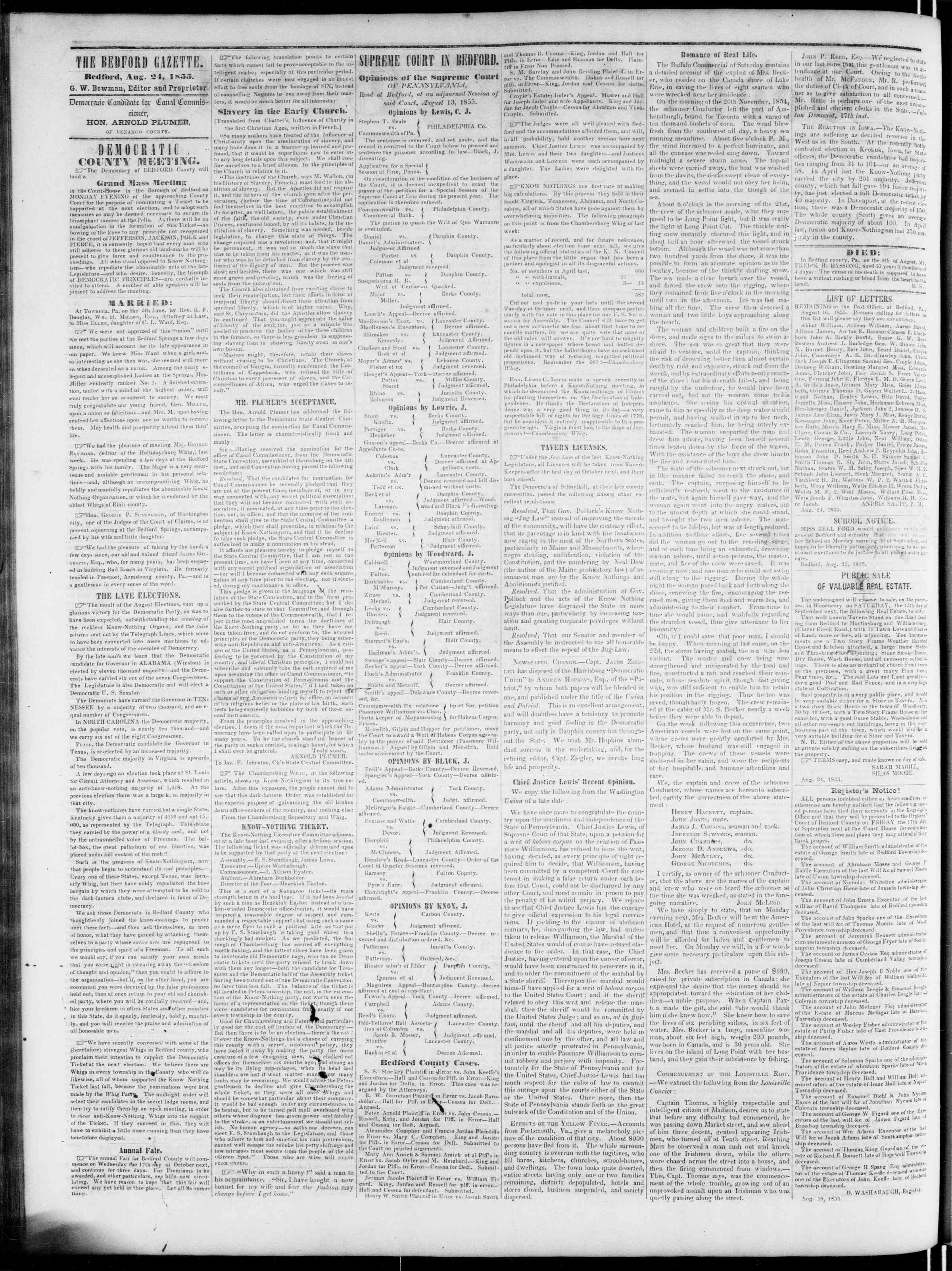 Newspaper of Bedford Gazette dated August 24, 1855 Page 2