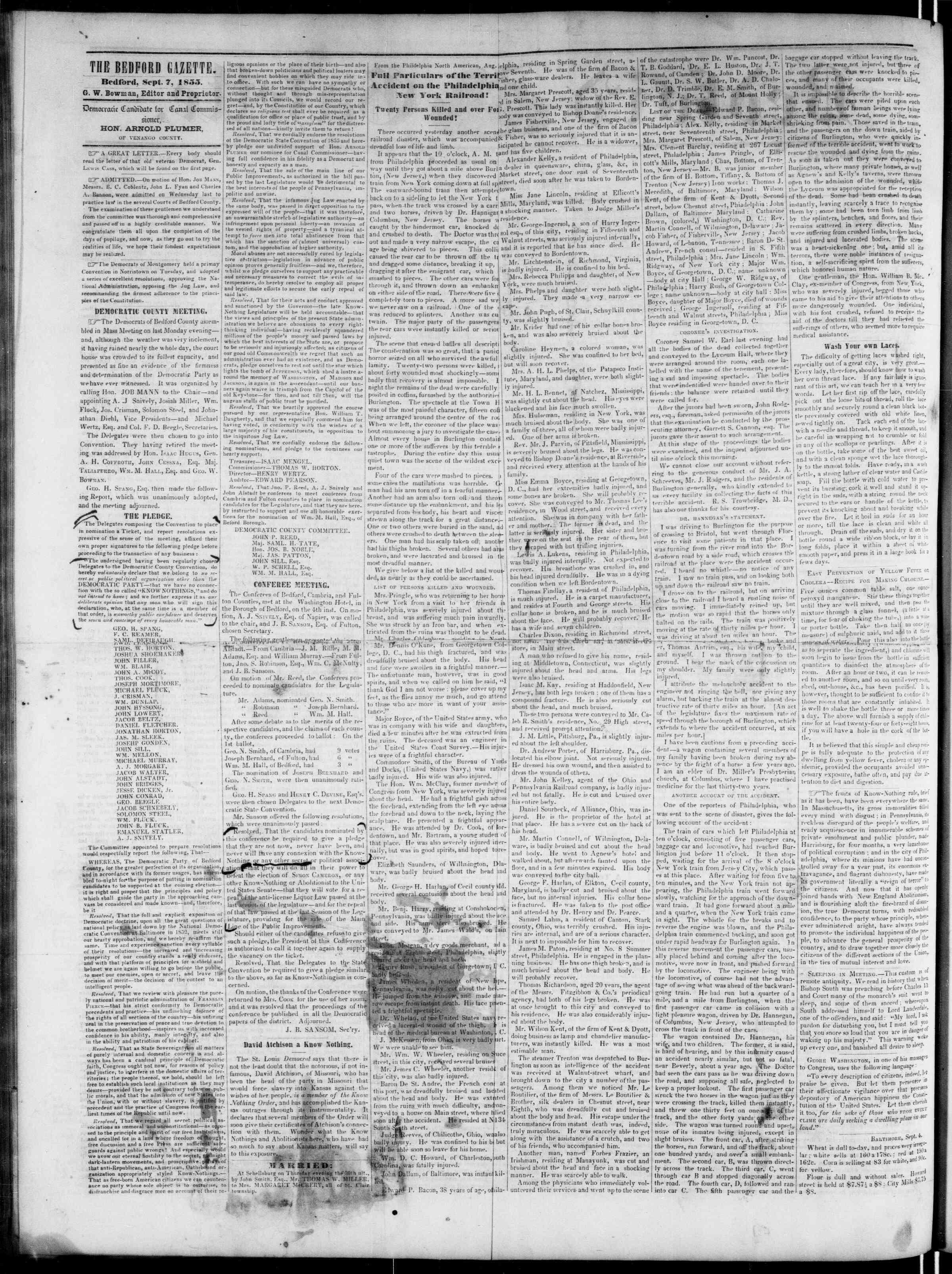 Newspaper of Bedford Gazette dated September 7, 1855 Page 2
