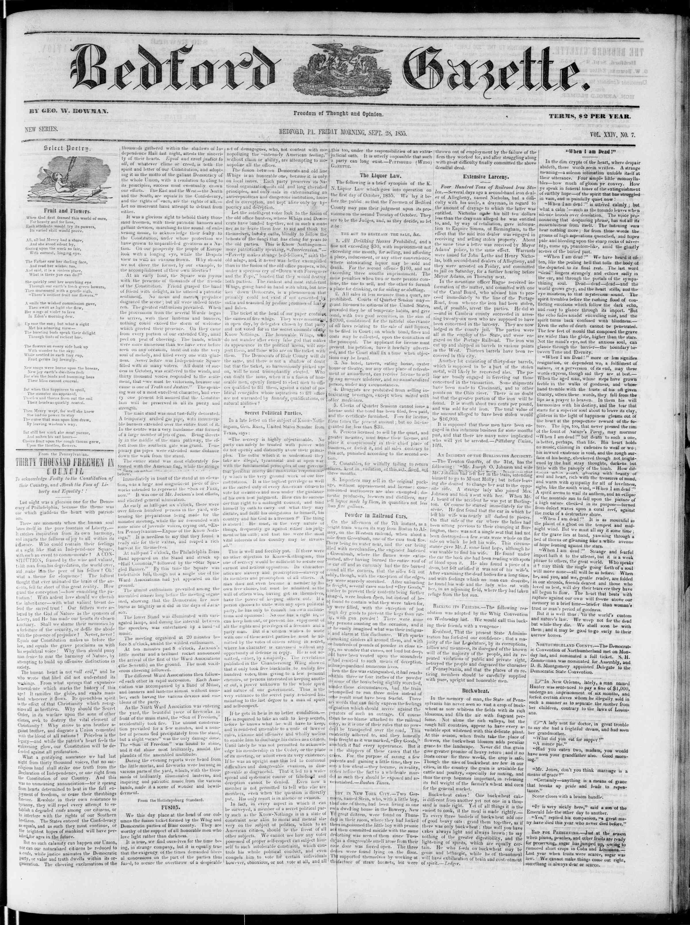 Newspaper of Bedford Gazette dated September 28, 1855 Page 1