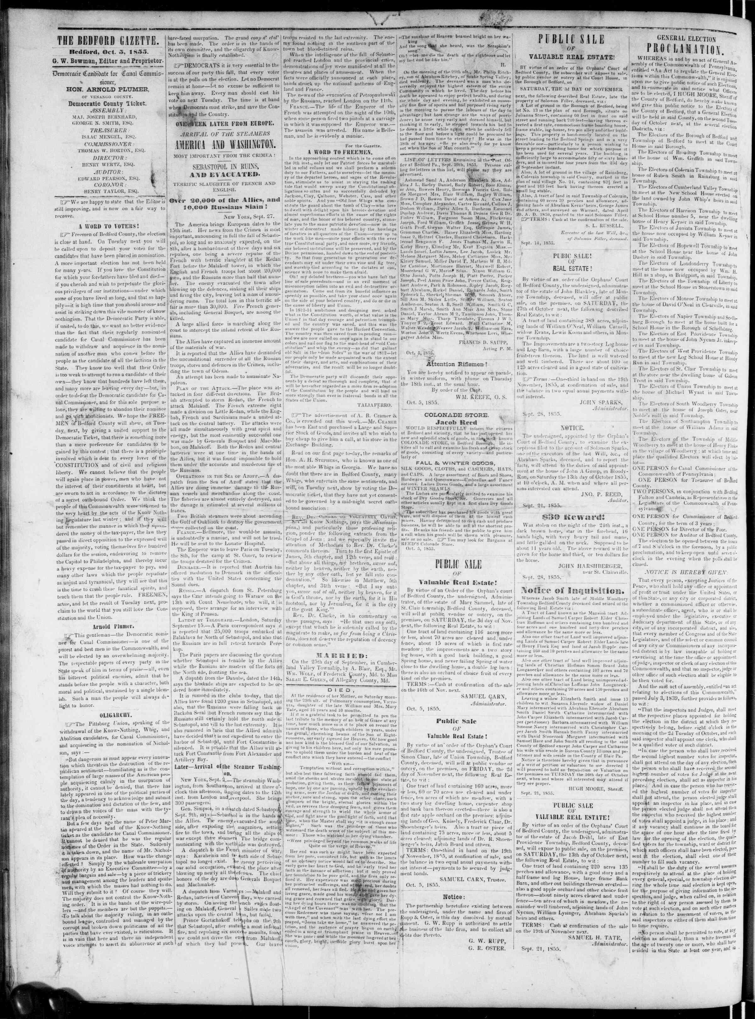 Newspaper of Bedford Gazette dated October 5, 1855 Page 2