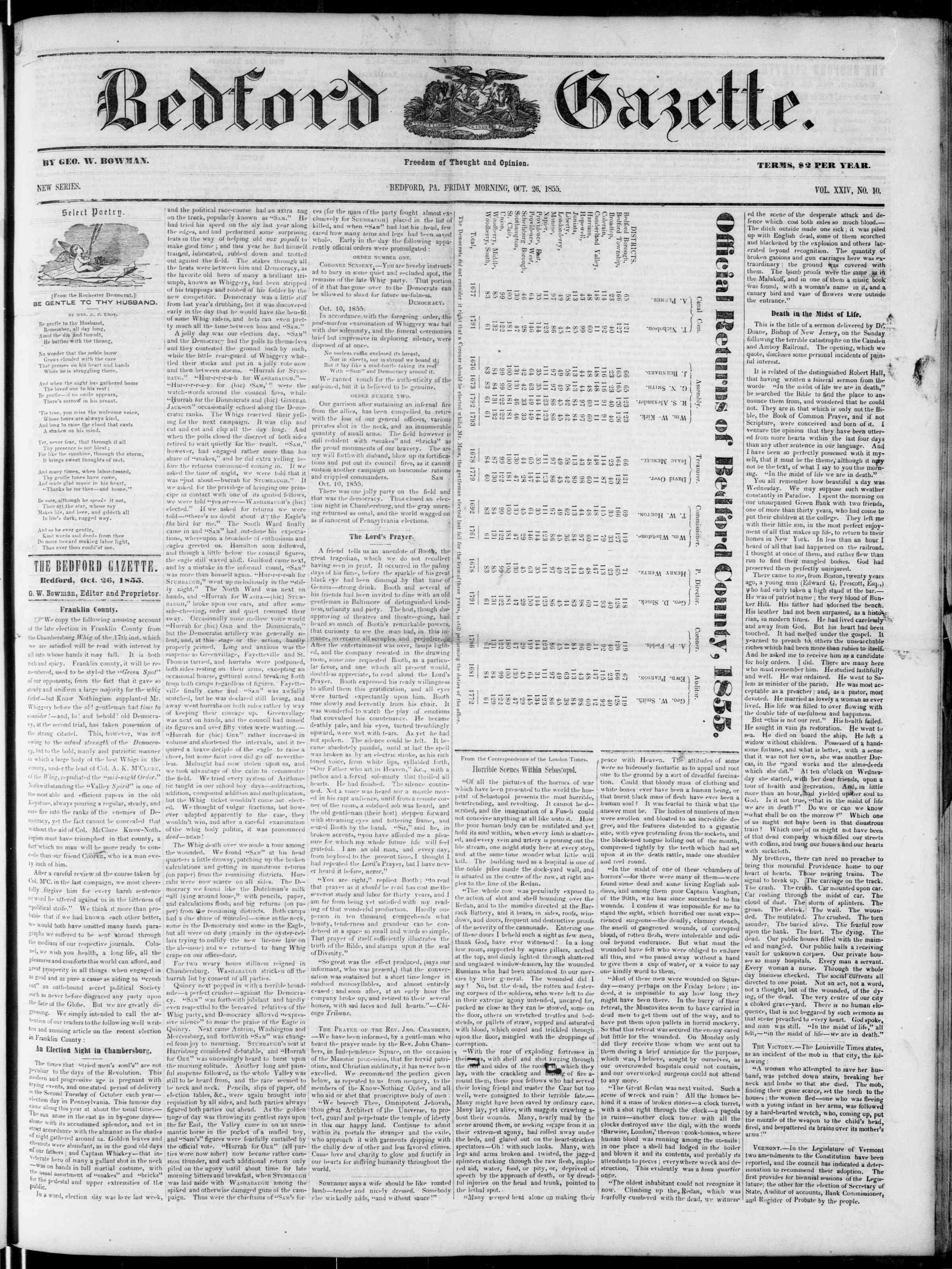 Newspaper of Bedford Gazette dated October 26, 1855 Page 1