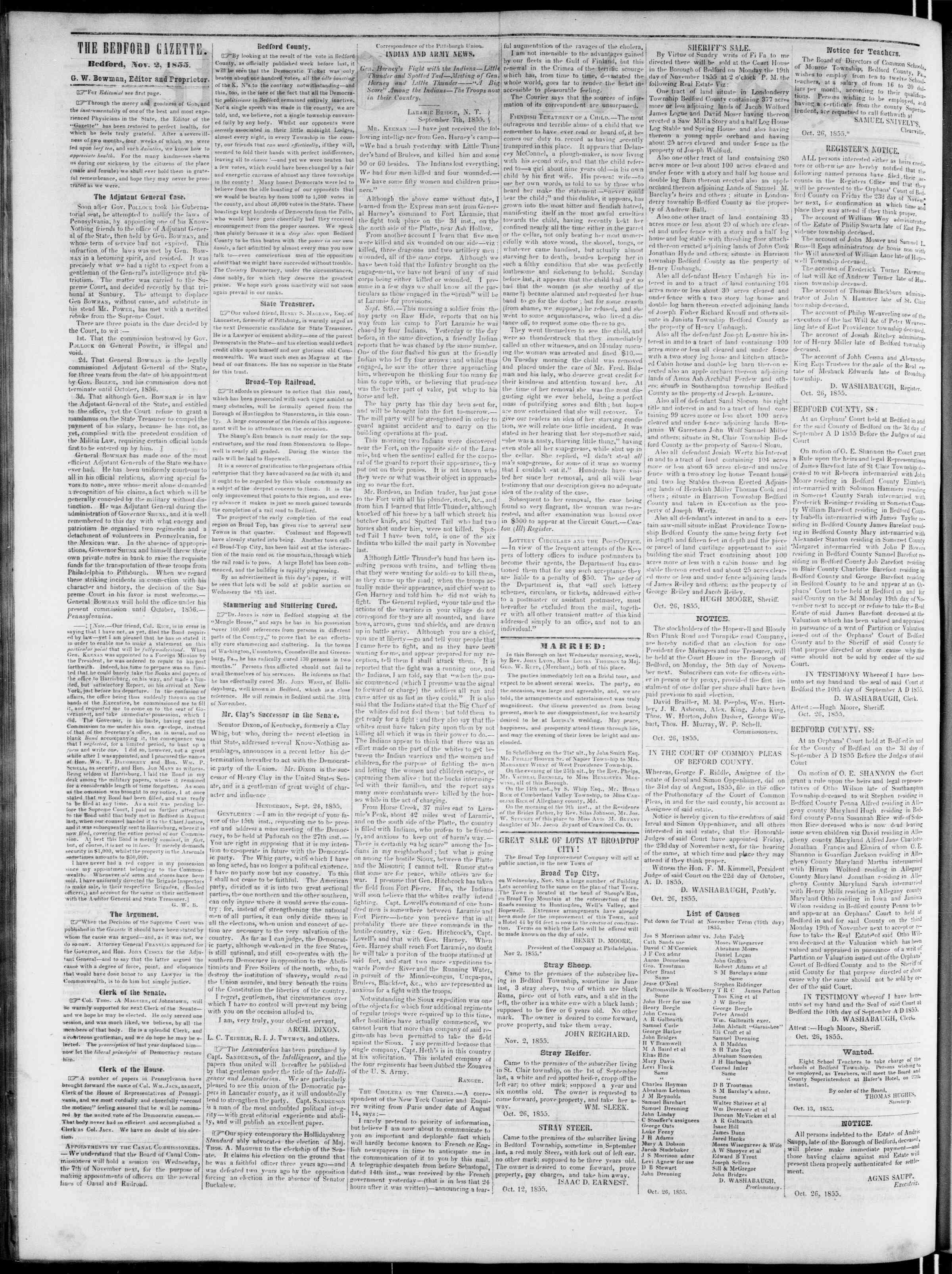 Newspaper of Bedford Gazette dated November 2, 1855 Page 2