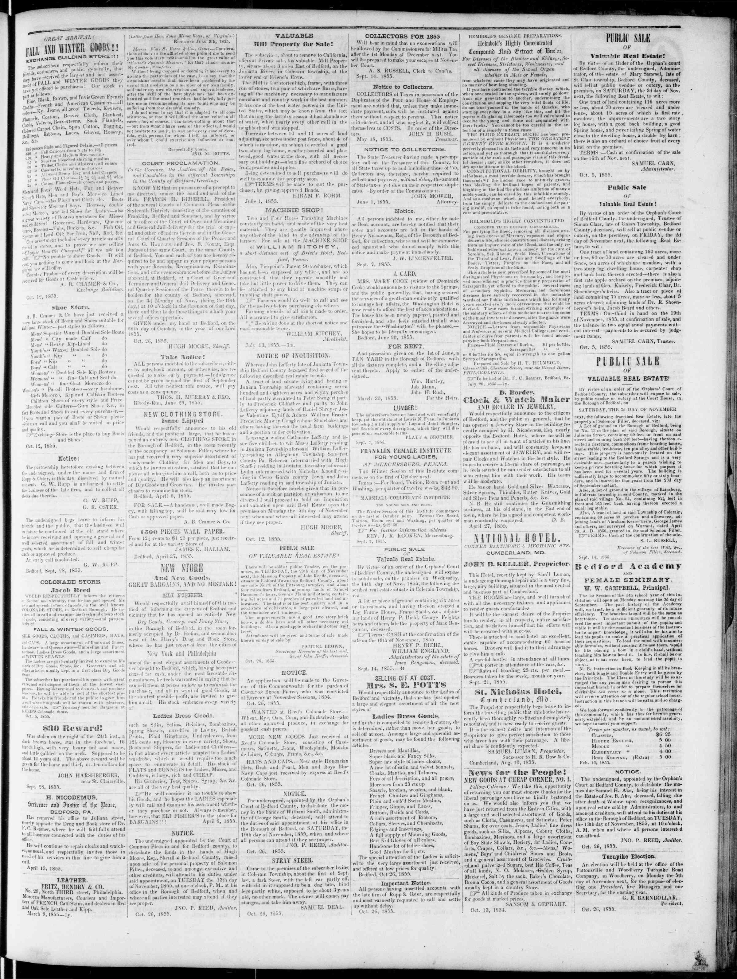 Newspaper of Bedford Gazette dated November 2, 1855 Page 3