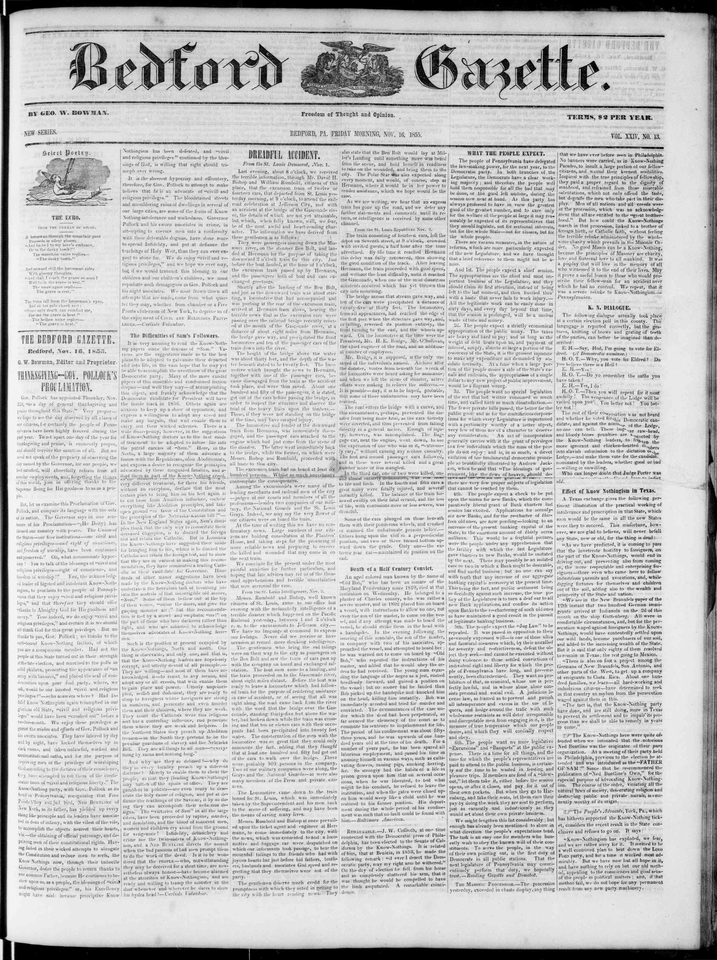 Newspaper of Bedford Gazette dated November 16, 1855 Page 1