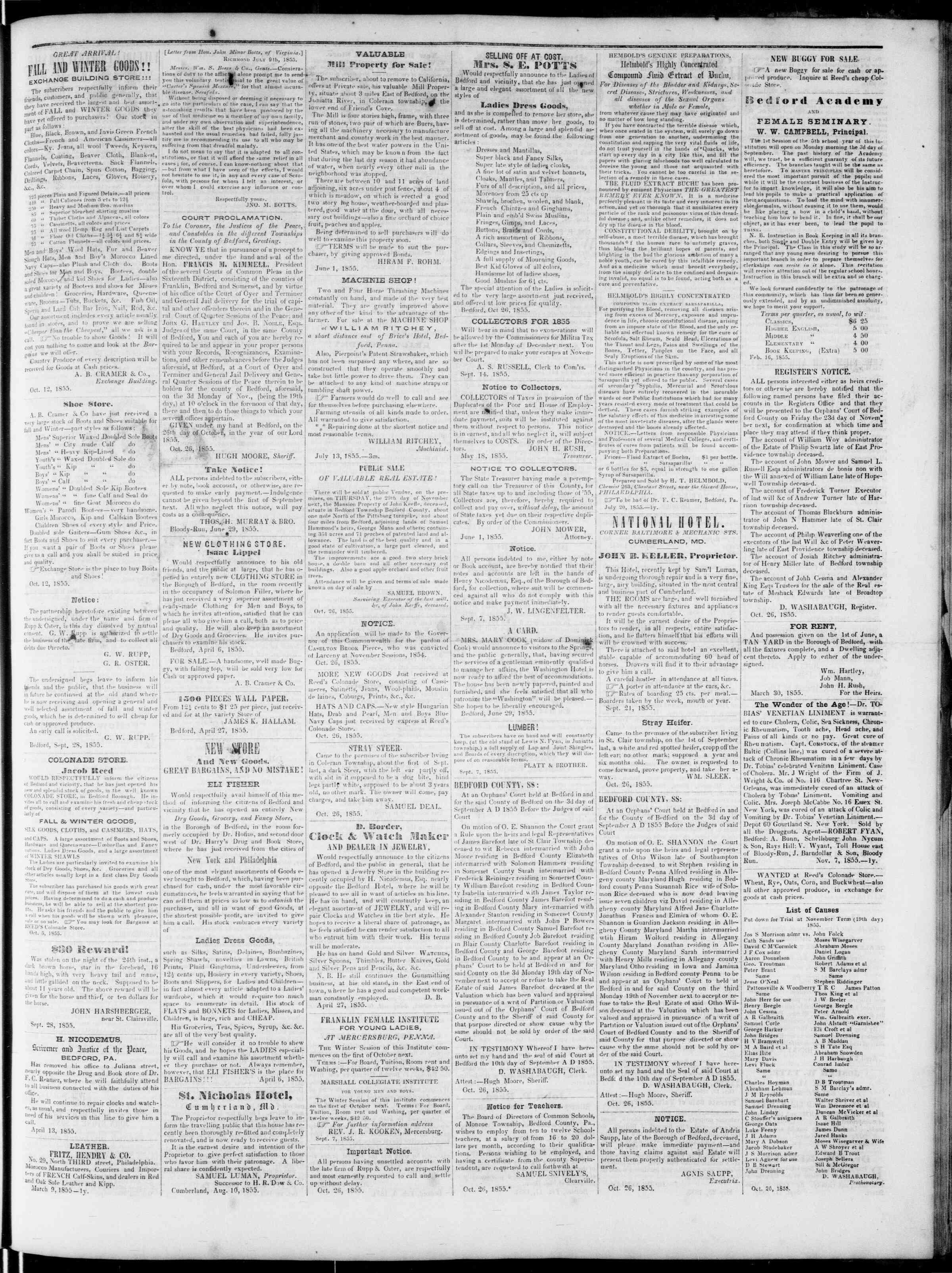 Newspaper of Bedford Gazette dated November 16, 1855 Page 3