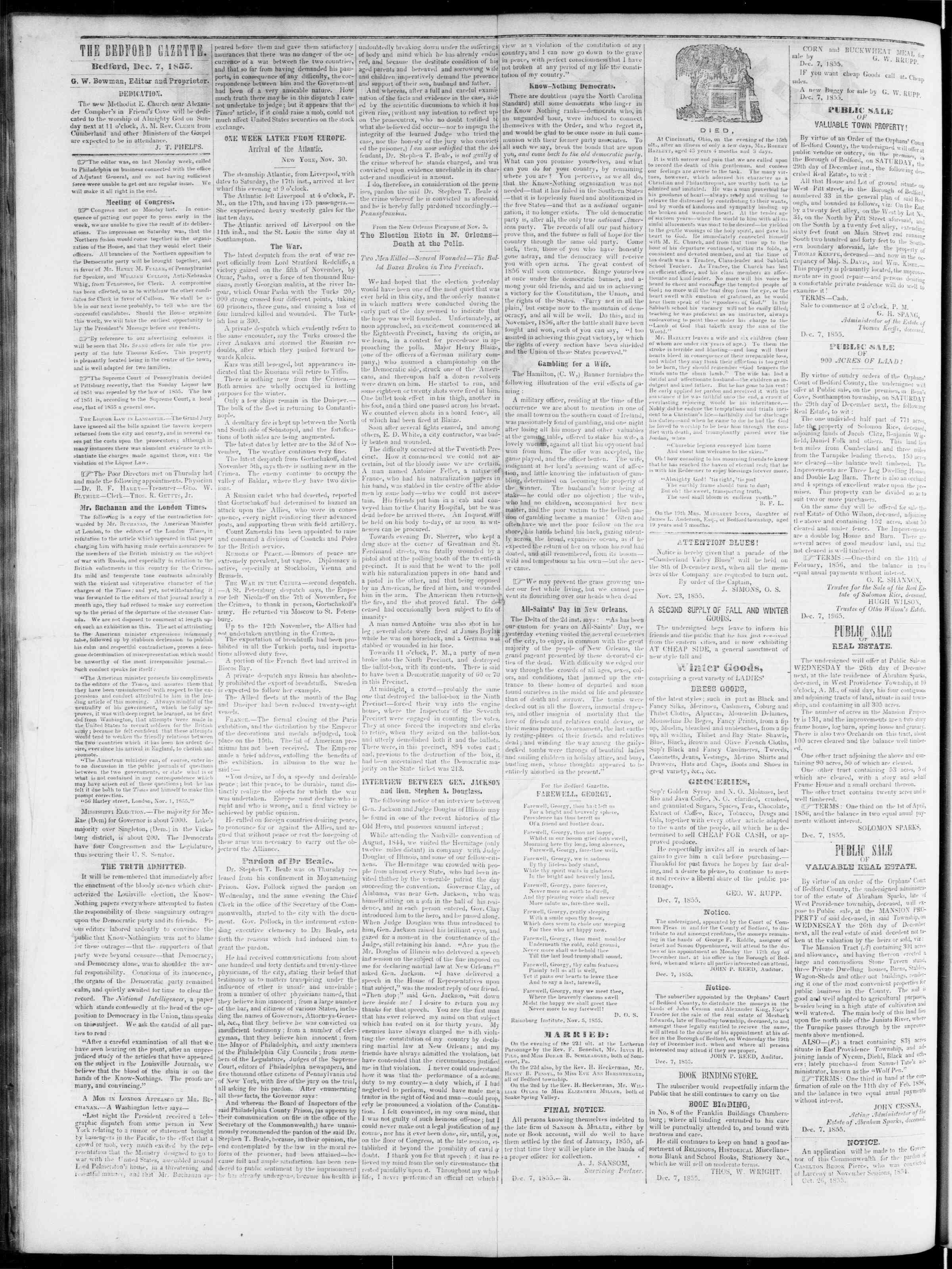 Newspaper of Bedford Gazette dated 7 Aralık 1855 Page 2