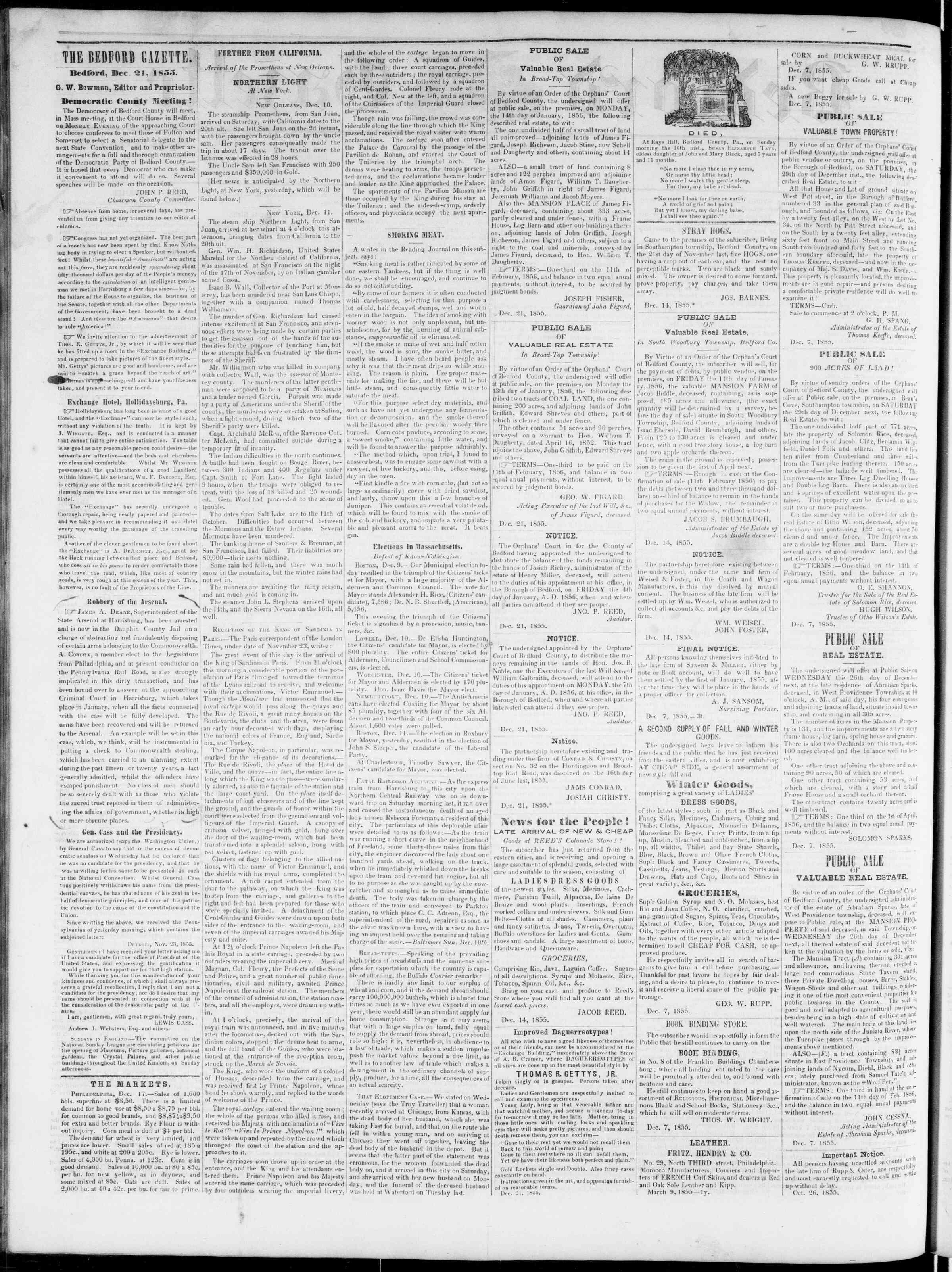 Newspaper of Bedford Gazette dated December 21, 1855 Page 2