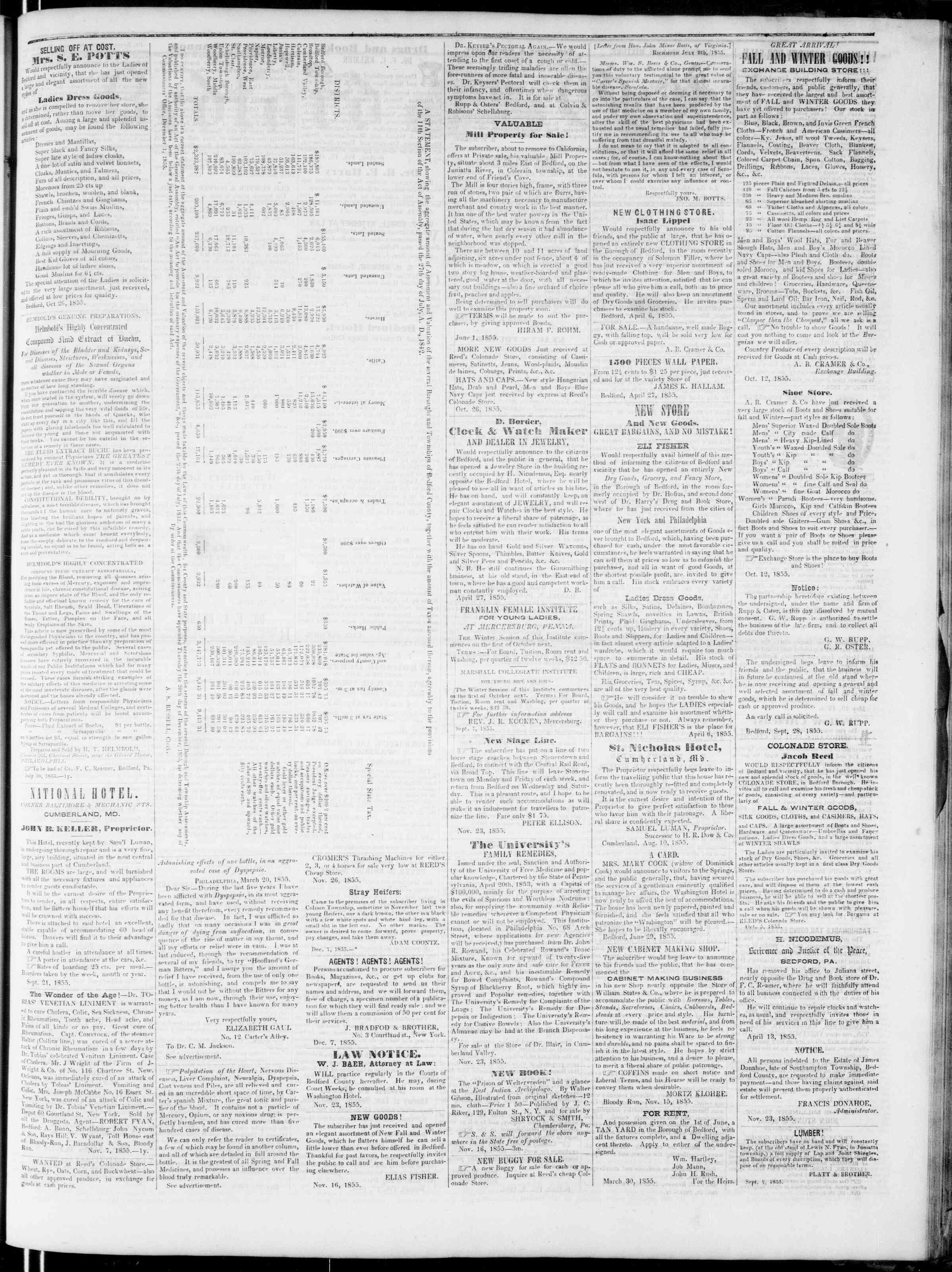Newspaper of Bedford Gazette dated December 21, 1855 Page 3