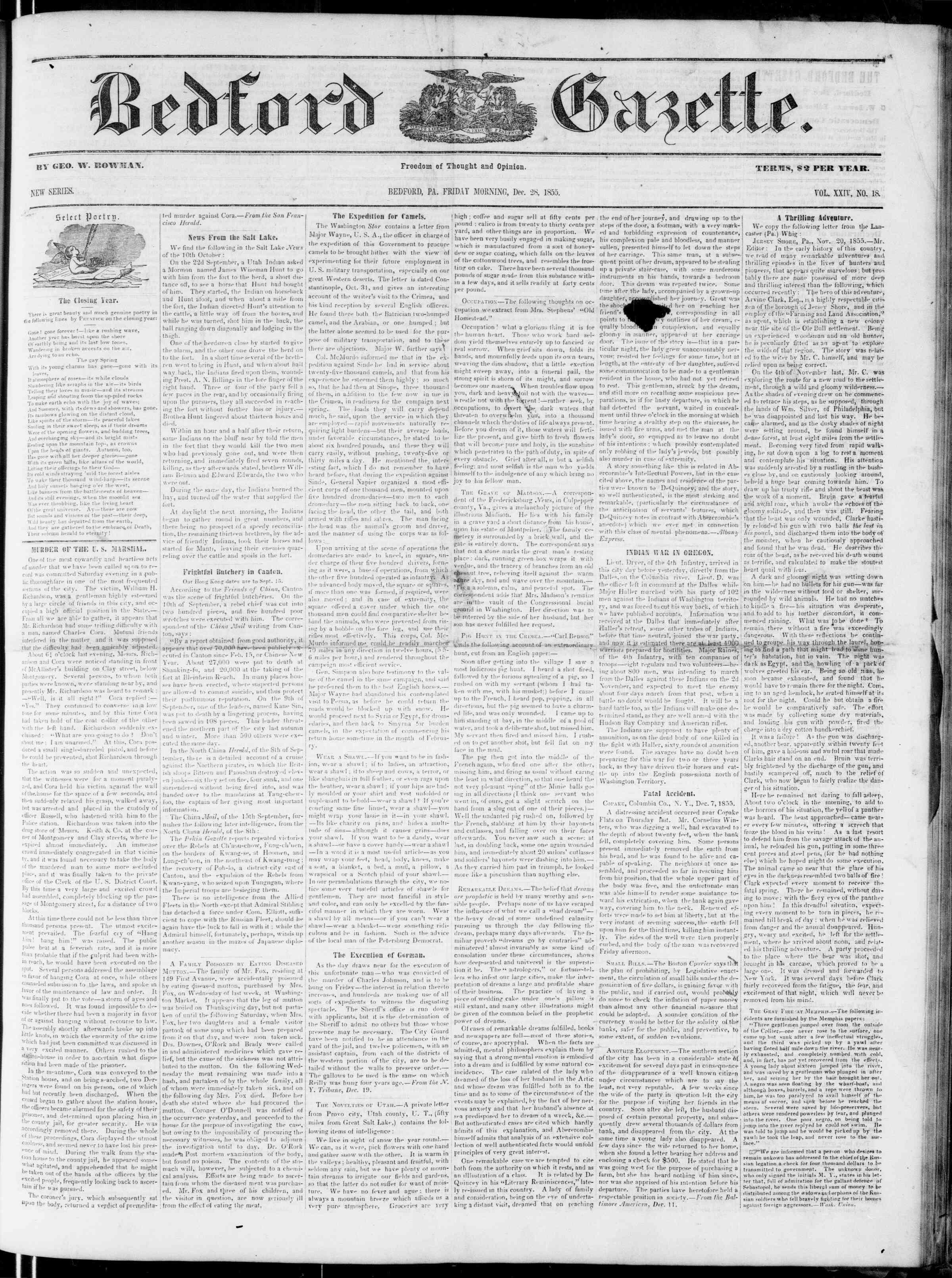 Newspaper of Bedford Gazette dated December 28, 1855 Page 1
