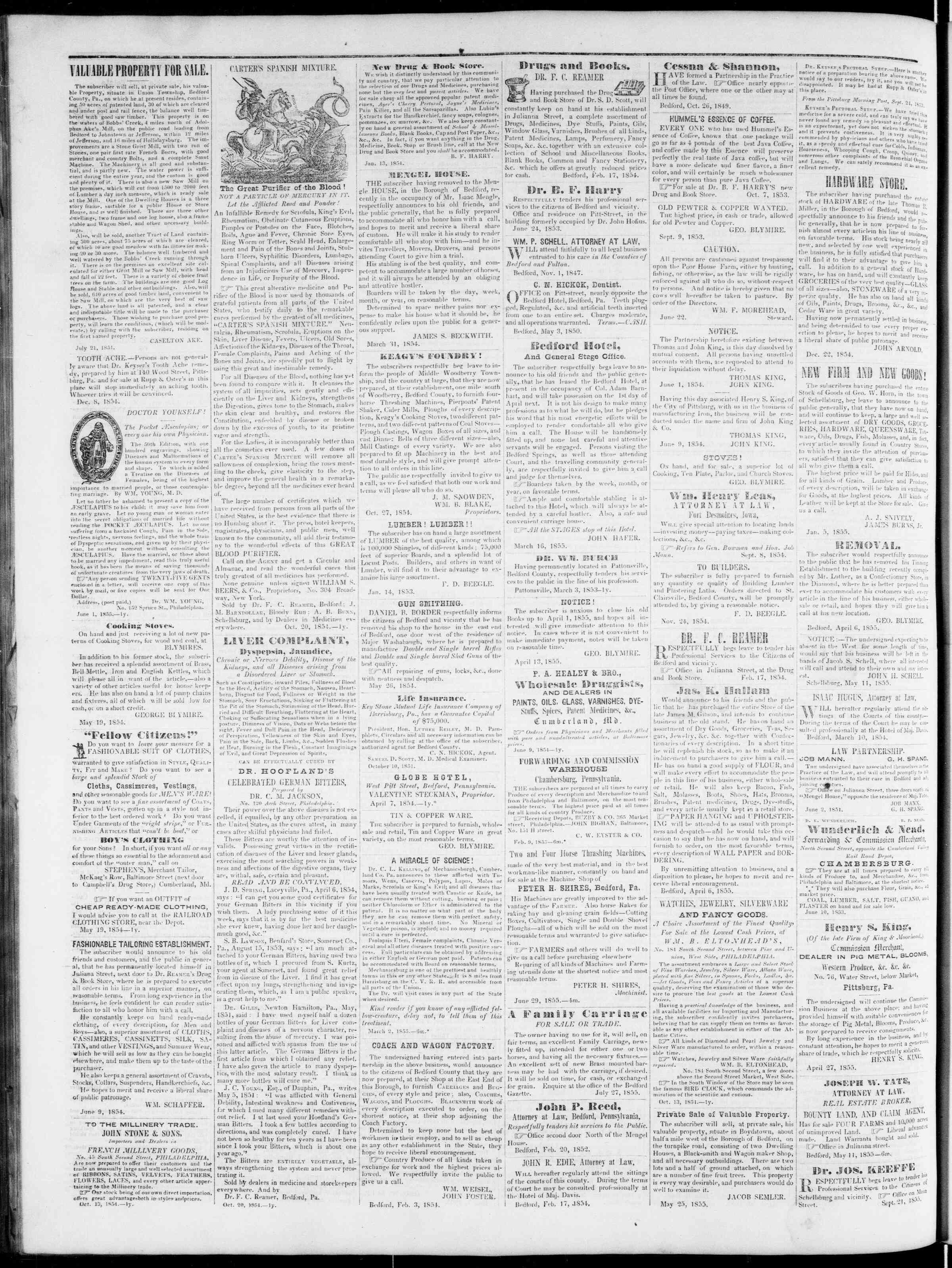 Newspaper of Bedford Gazette dated December 28, 1855 Page 4