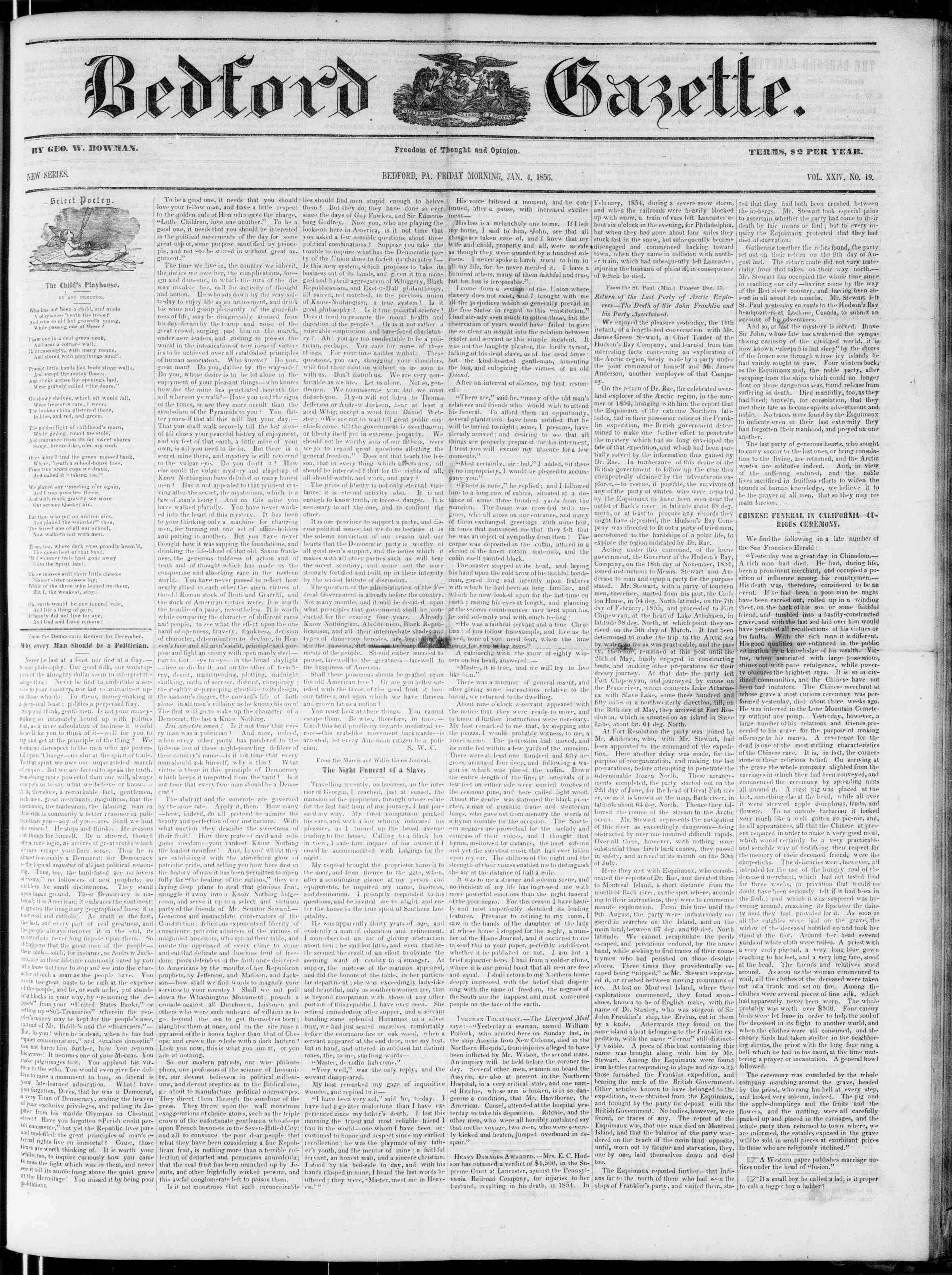 Newspaper of Bedford Gazette dated January 4, 1856 Page 1