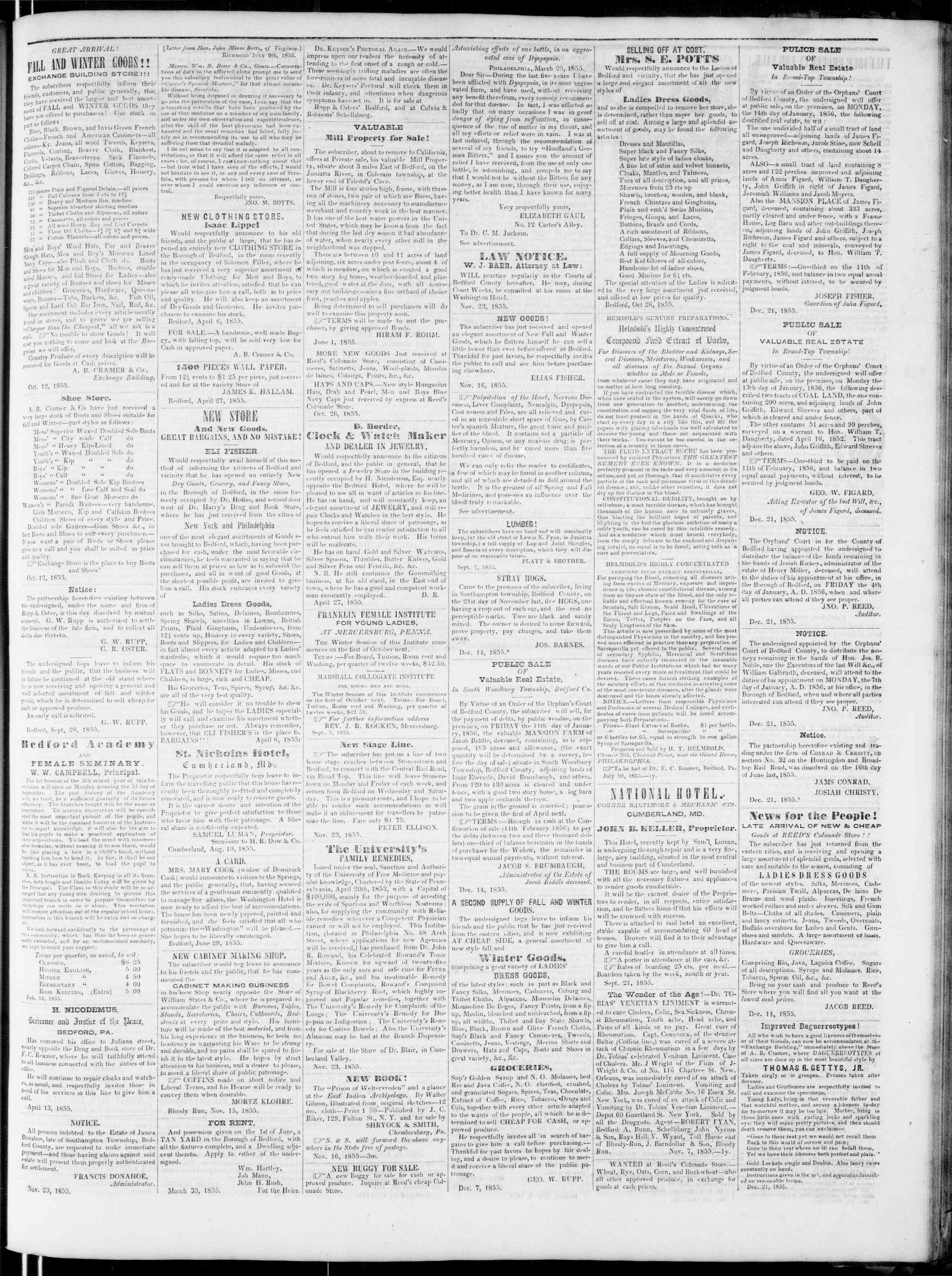 Newspaper of Bedford Gazette dated January 4, 1856 Page 3